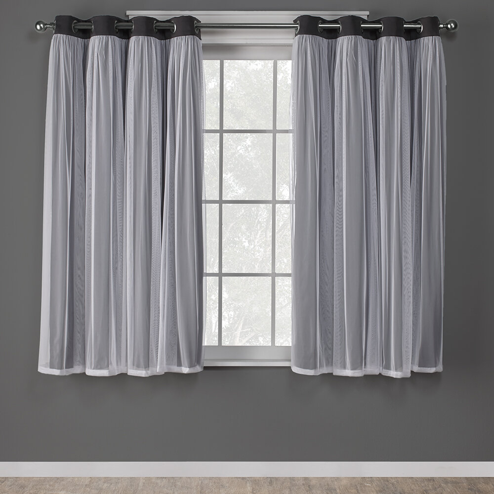 Nunley Layered Solid Blackout Thermal Grommet Curtain Panels Pertaining To Tuscan Thermal Backed Blackout Curtain Panel Pairs (View 9 of 30)