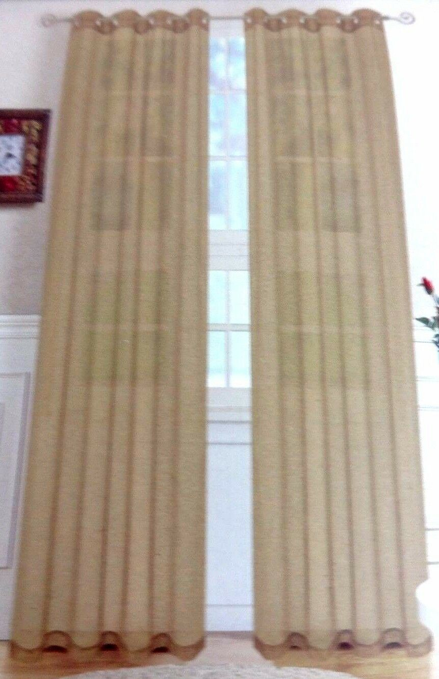 Nwt Victoria 2 Linen Textured Taupe Curtain Panels Grommet With Regard To Archaeo Slub Textured Linen Blend Grommet Top Curtains (Image 19 of 20)