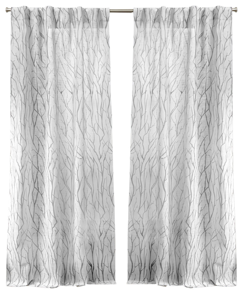 Oakdale Motif Textured Linen Hidden Tab Top Curtain Panel Pair, Dove Gray, 54x96 Intended For Oakdale Textured Linen Sheer Grommet Top Curtain Panel Pairs (View 10 of 20)