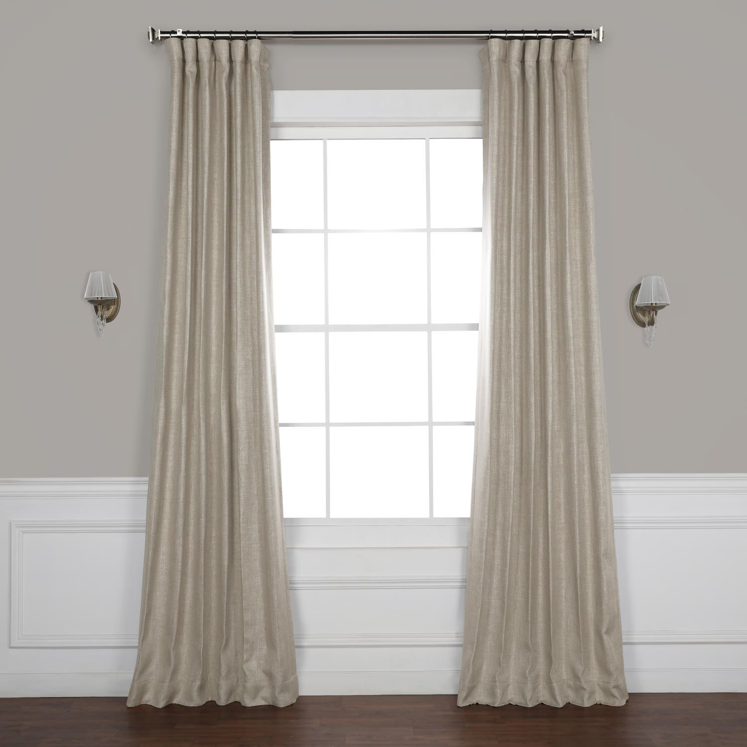 Oatmeal Faux Linen Blackout Curtain Inside Signature French Linen Curtain Panels (View 28 of 30)