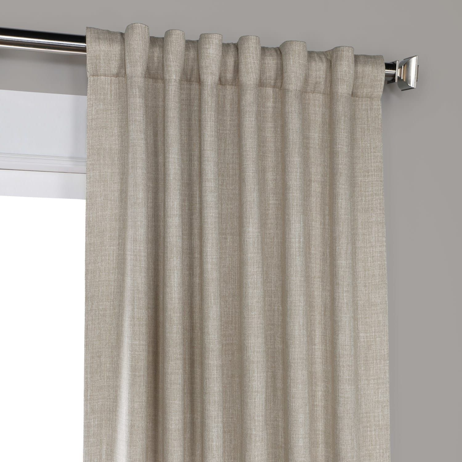 Oatmeal Faux Linen Blackout Room Darkening Curtain In Faux Linen Blackout Curtains (View 11 of 20)