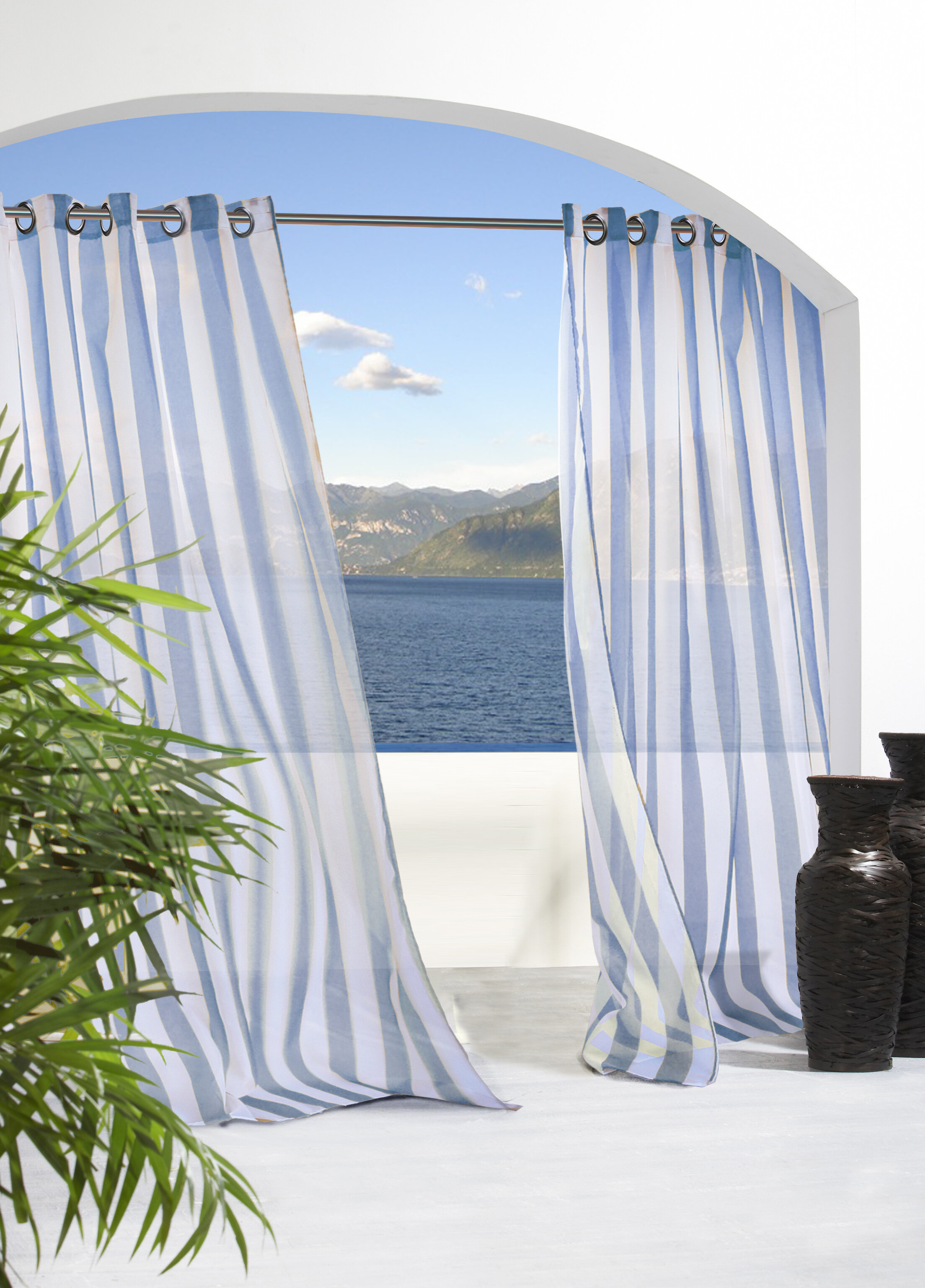 Odessa Striped Sheer Outdoor Grommet Single Curtain Panel With Ocean Striped Window Curtain Panel Pairs With Grommet Top (View 12 of 20)