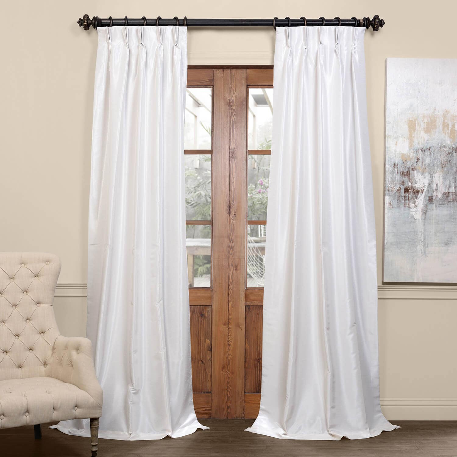 Off White Blackout Vintage Textured Faux Dupioni Pleated Curtain In Vintage Textured Faux Dupioni Silk Curtain Panels (View 13 of 30)