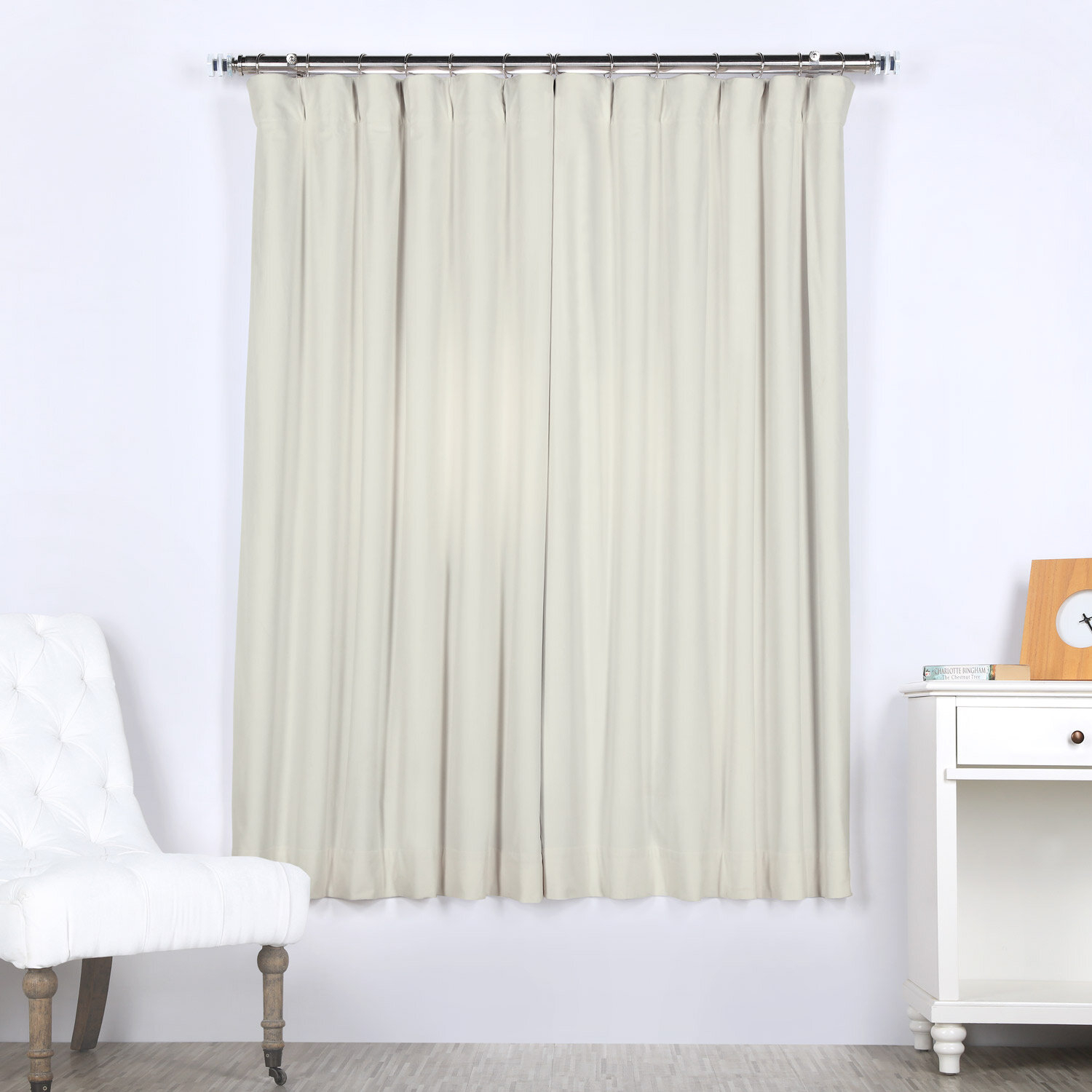 Off White Velvet Solid Blackout Thermal Rod Pocket Single Curtain Panel Pertaining To Signature Pinch Pleated Blackout Solid Velvet Curtain Panels (View 24 of 36)