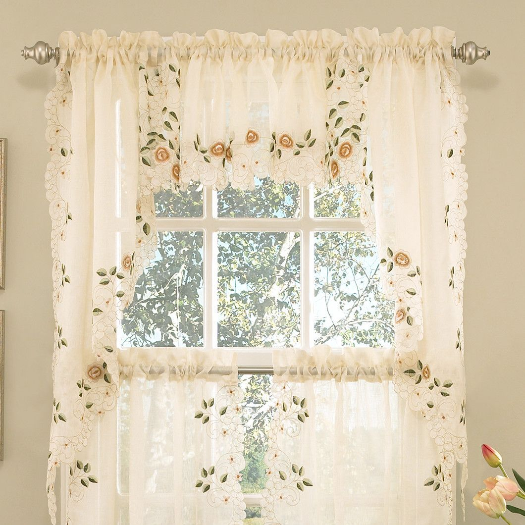 Old World Style Floral Embroidered Semi Sheer Swag Curtain With Regard To Luxurious Old World Style Lace Window Curtain Panels (View 9 of 20)