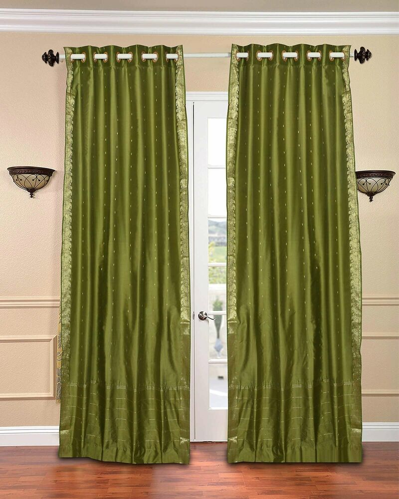 Olive Green Ring Top Sheer Sari Curtain / Drape / Panel – Piece   Ebay With Luxury Collection Monte Carlo Sheer Curtain Panel Pairs (View 15 of 20)