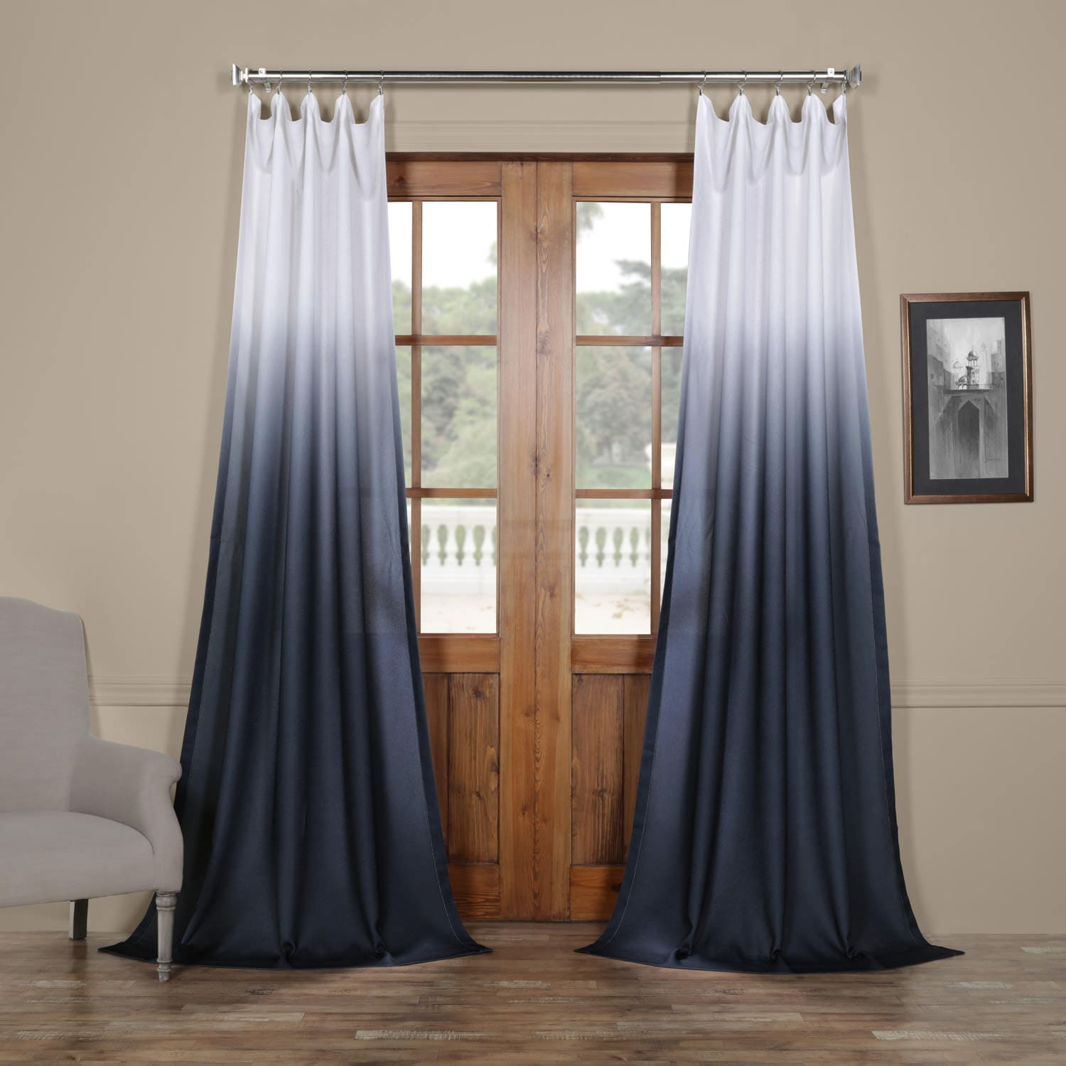 Ombre Blue Faux Linen Sheer Curtain – Secret Garden Leaf Regarding Ombre Stripe Yarn Dyed Cotton Window Curtain Panel Pairs (View 15 of 20)