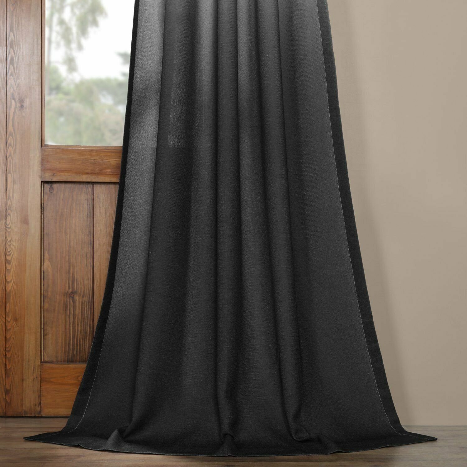 """Ombre Faux Linen Semi Sheer Curtain Black 50 X 84 3"""" Pole Pocket With Hook Belt Throughout Ombre Faux Linen Semi Sheer Curtains (View 11 of 20)"""