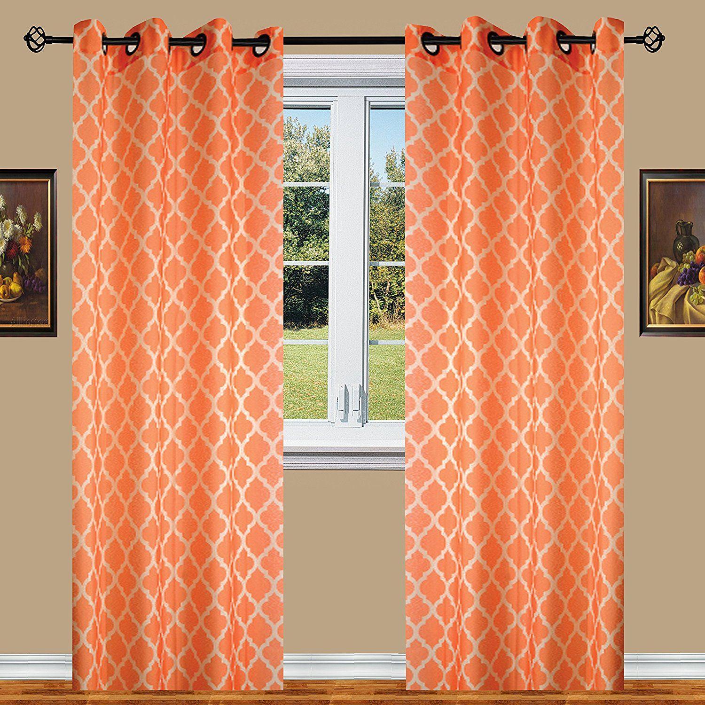 Orange Elegant Comfort Luxury Sheer Look Printed Grommet Within Elegant Comfort Window Sheer Curtain Panel Pairs (View 8 of 20)
