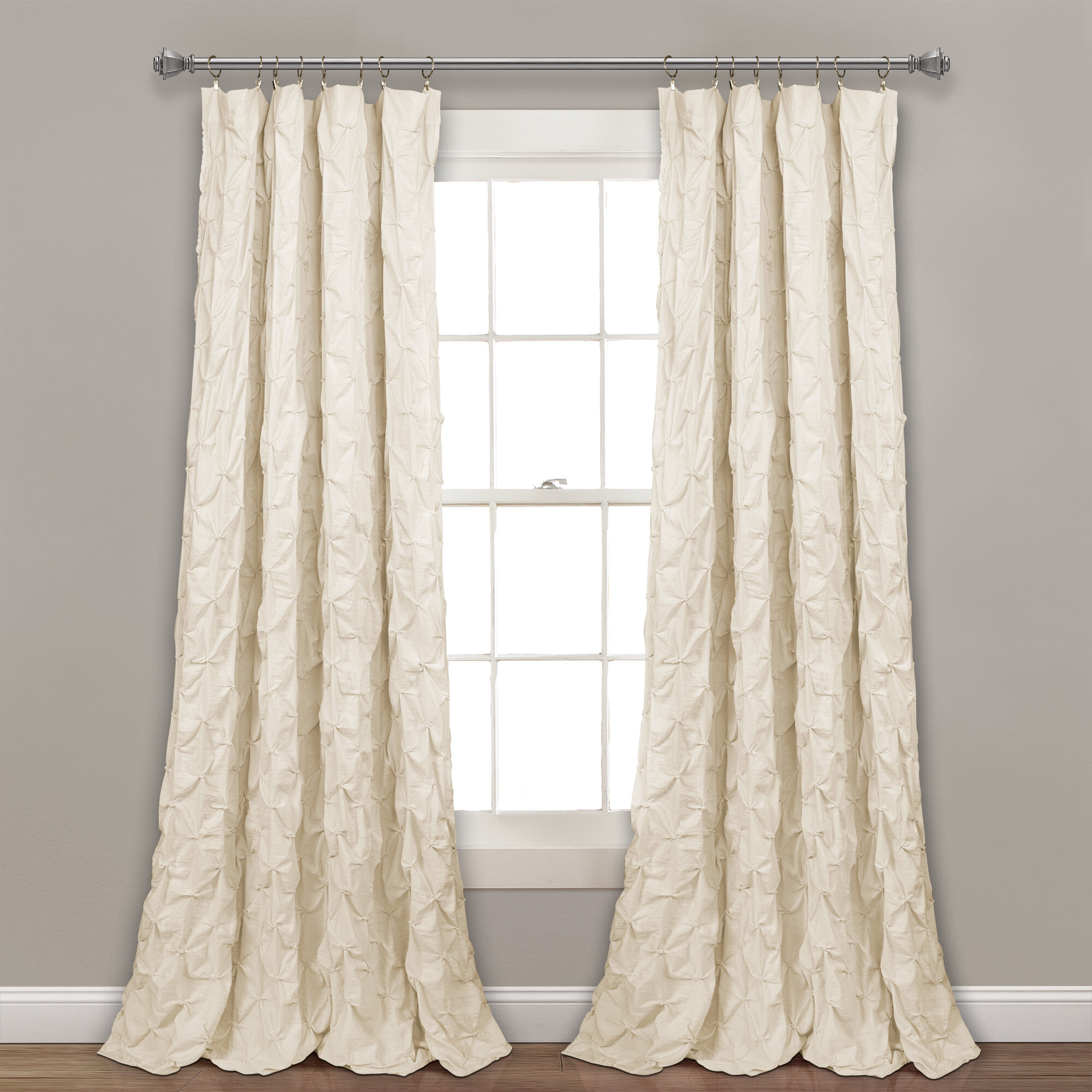 Ornelas Pintuck Solid Sheer Rod Pocket Single Curtain Panel Intended For Ruffle Diamond Curtain Panel Pairs (View 19 of 20)