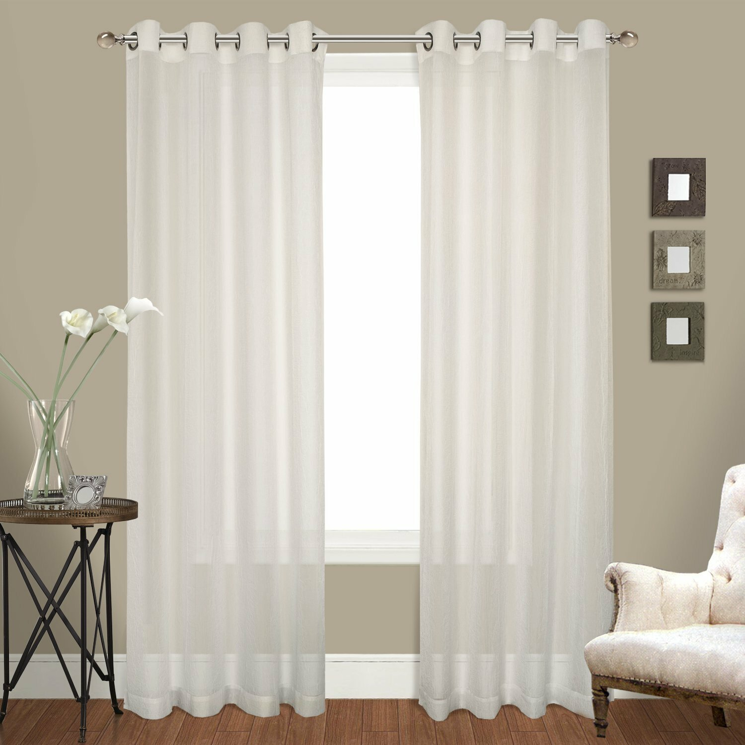 Ortley Crushed Voile Solid Sheer Grommet Curtain Panel Pair In Pairs To Go Victoria Voile Curtain Panel Pairs (View 15 of 20)