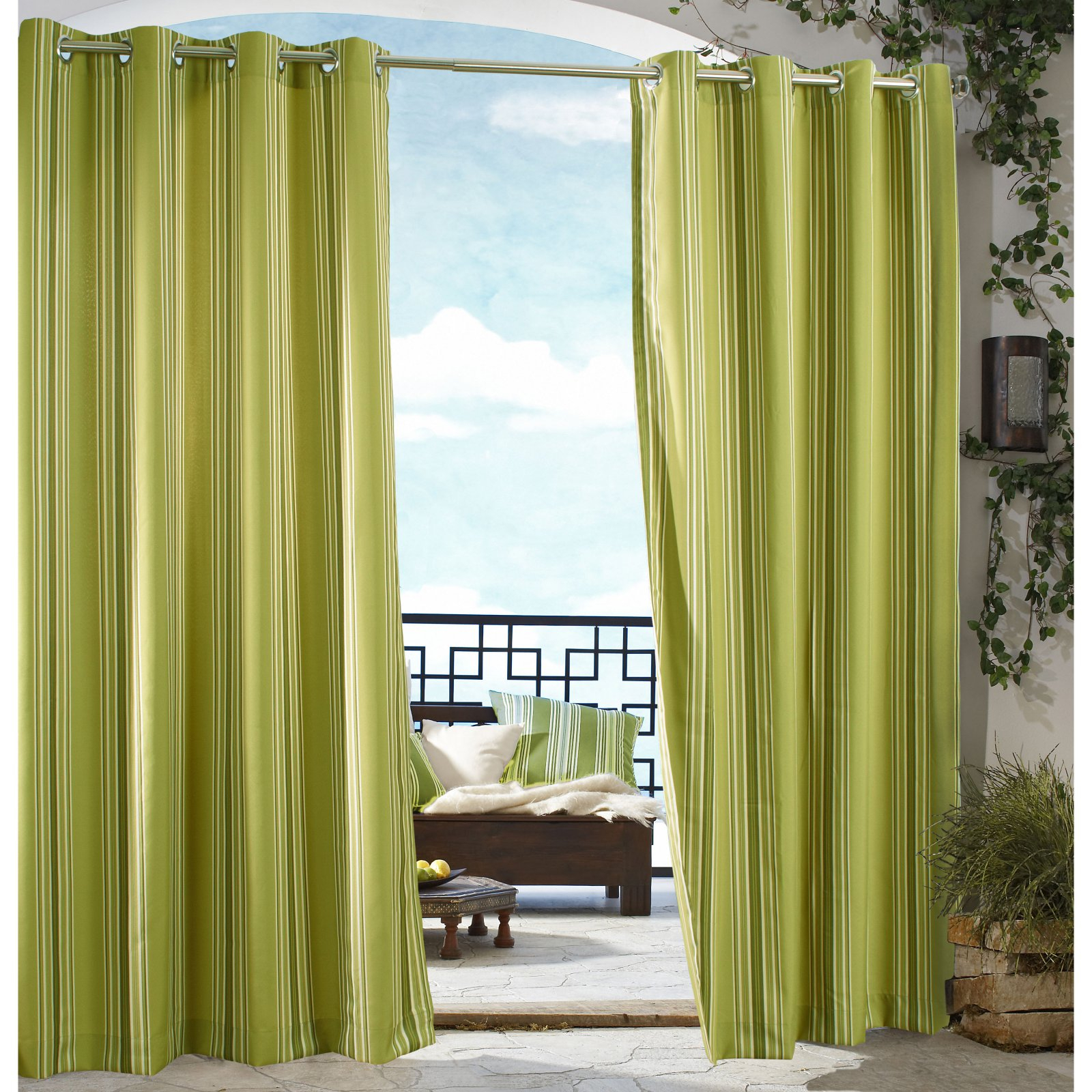 Outdoor Decor Gazebo Stripe Grommet Outdoor Curtain Panel For Valencia Cabana Stripe Indoor/outdoor Curtain Panels (View 24 of 30)