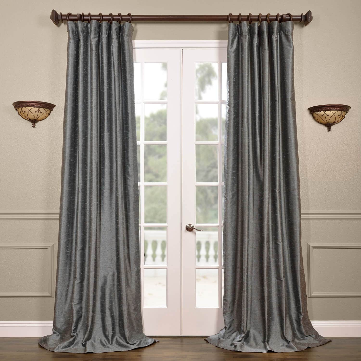 Pacific Storm Yarn Dyed Faux Dupioni Silk Curtain Regarding Storm Grey Vintage Faux Textured Dupioni Single Silk Curtain Panels (View 27 of 30)