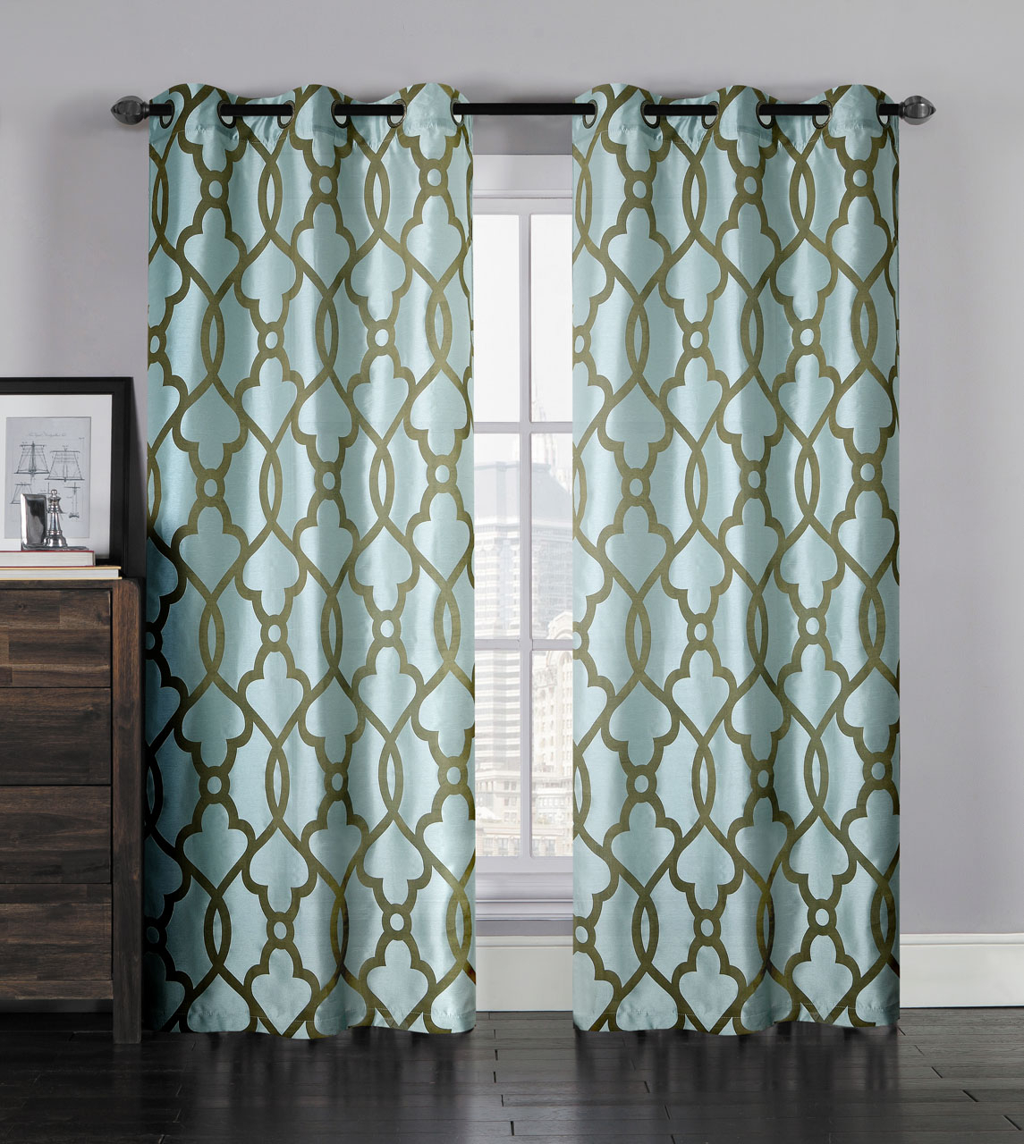 Pair Of Aleah Spa Blue Window Curtain Panels W/grommets Inside Ocean Striped Window Curtain Panel Pairs With Grommet Top (View 19 of 20)