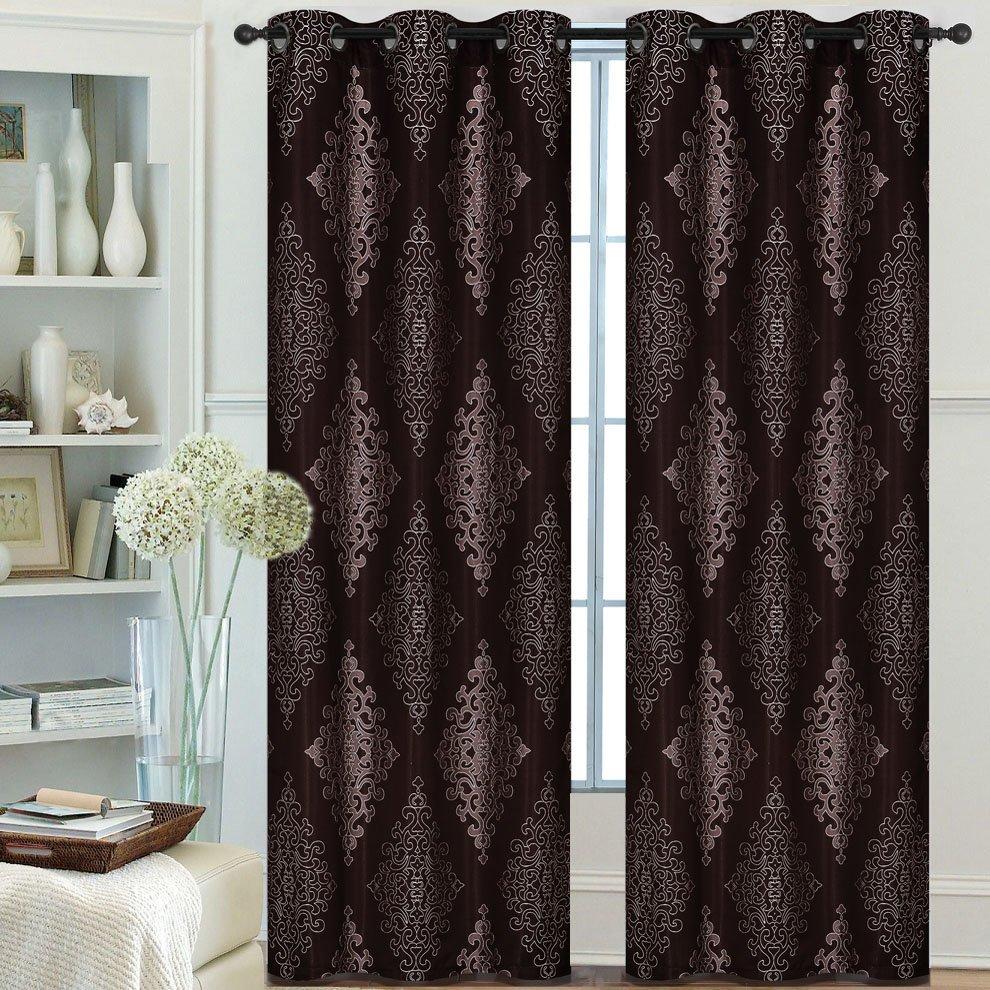 Pair Of Lydia Jacquard Window Panels W/grommets Burgundy Regarding Lydia Ruffle Window Curtain Panel Pairs (View 13 of 20)