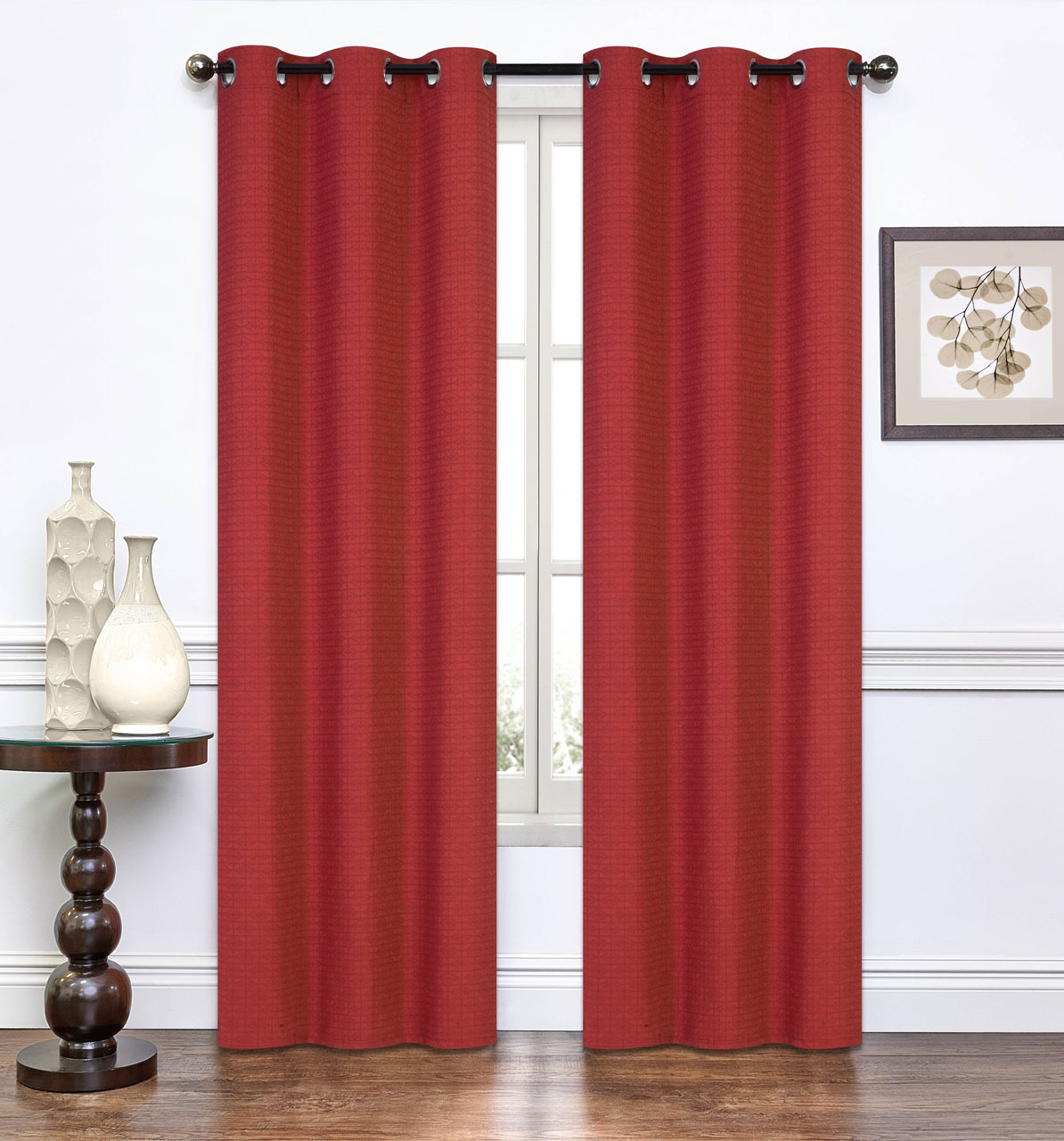 Pair Of Lynette Burnt Rust Window Curtain Panels W/grommets Throughout Solid Grommet Top Curtain Panel Pairs (View 13 of 30)