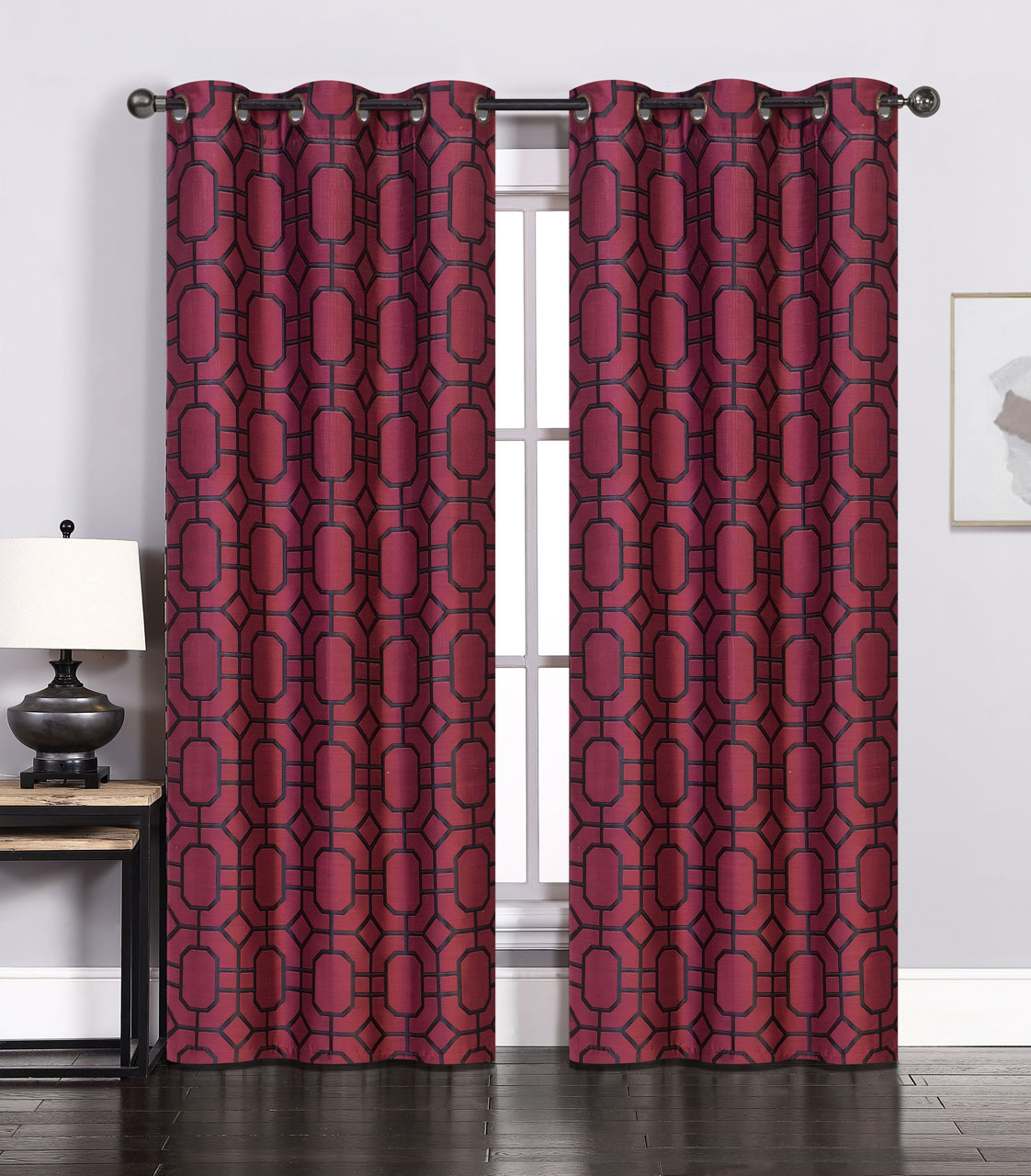Pair Of Maritza Jacquard Burgundy/black Window Curtain For Woven Blackout Curtain Panel Pairs With Grommet Top (View 23 of 30)