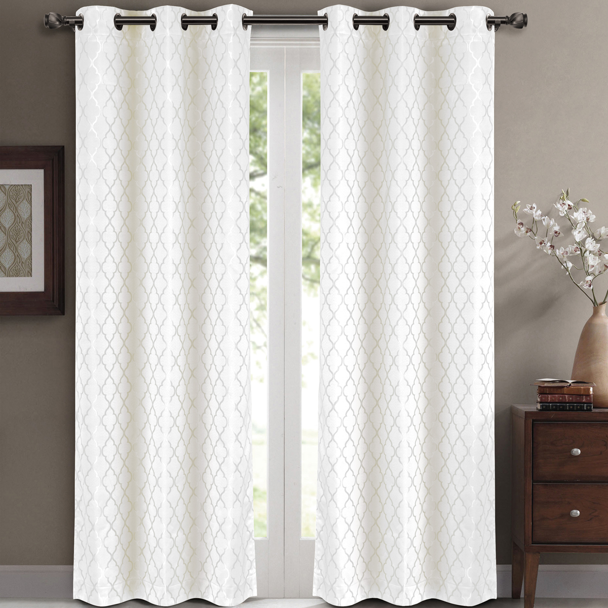 "Pair ( Set Of 2) Willow Thermal Insulated Blackout Curtain Panels – White – W84 X L63"" – Walmart In Insulated Blackout Grommet Window Curtain Panel Pairs (View 17 of 20)"