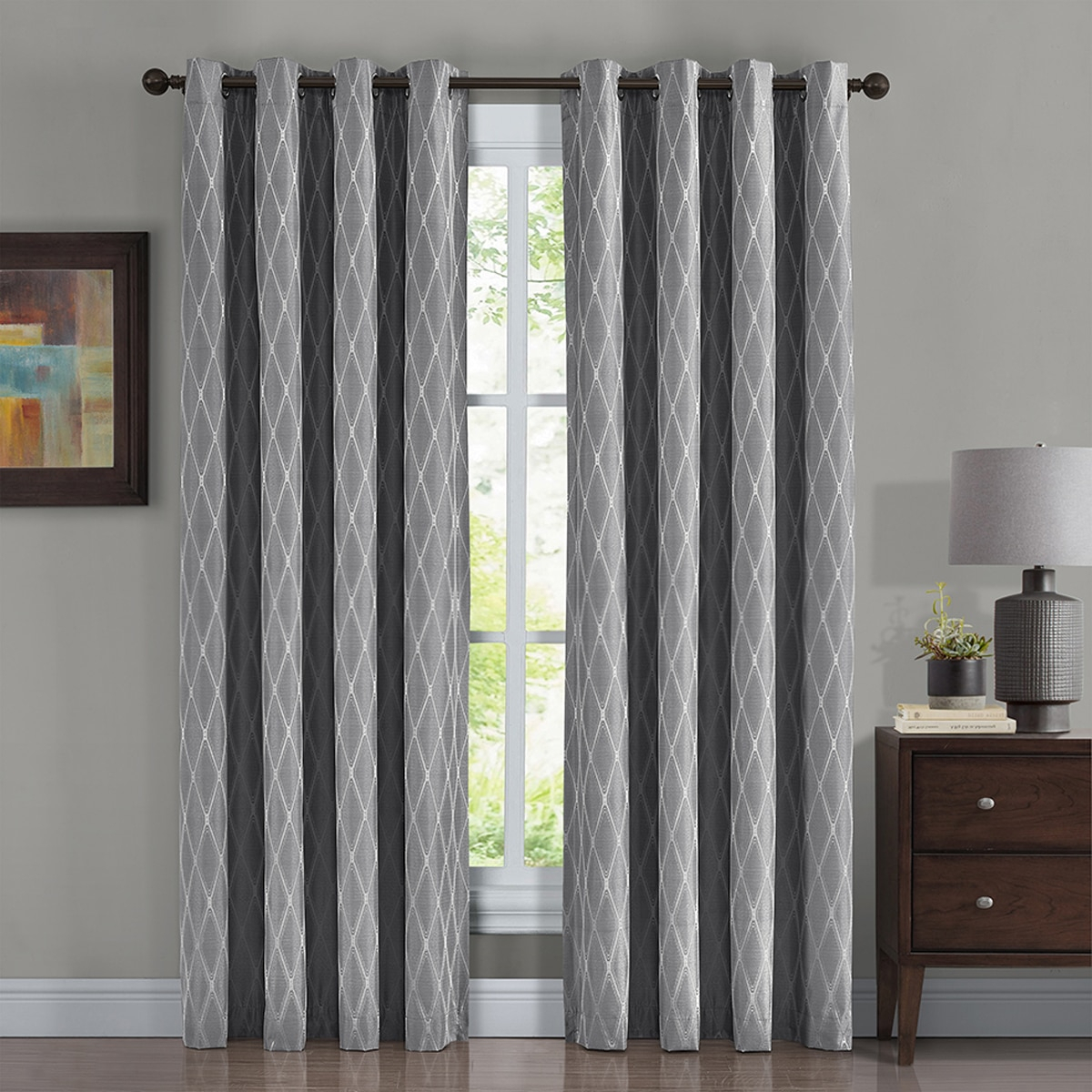 Pair Victoria 100% Blackout Curtain Panels Jacquard Thermal Insulated ( Set Of 2) 108x84 – Gray With Thermal Insulated Blackout Curtain Panel Pairs (View 24 of 30)
