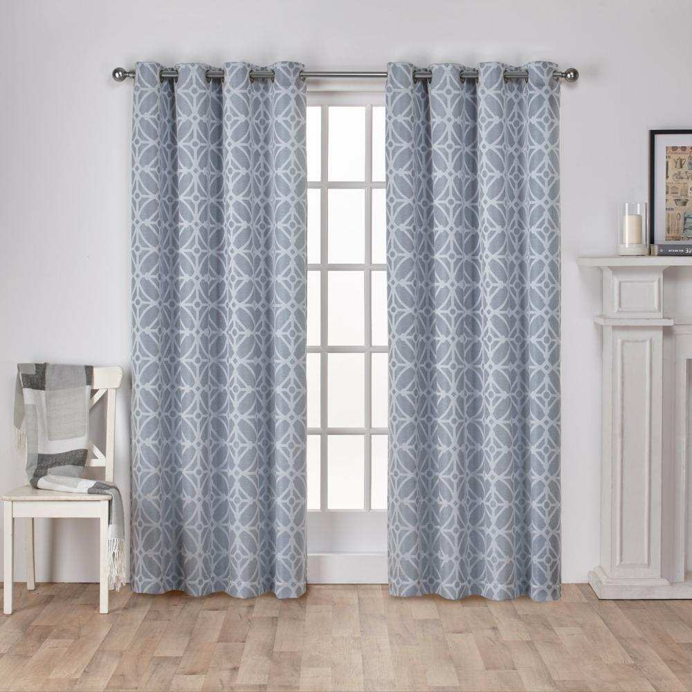 Pairexclusive Home Curtains Steel Blue Sold As Set Of 2 Inside Baroque Linen Grommet Top Curtain Panel Pairs (View 17 of 20)