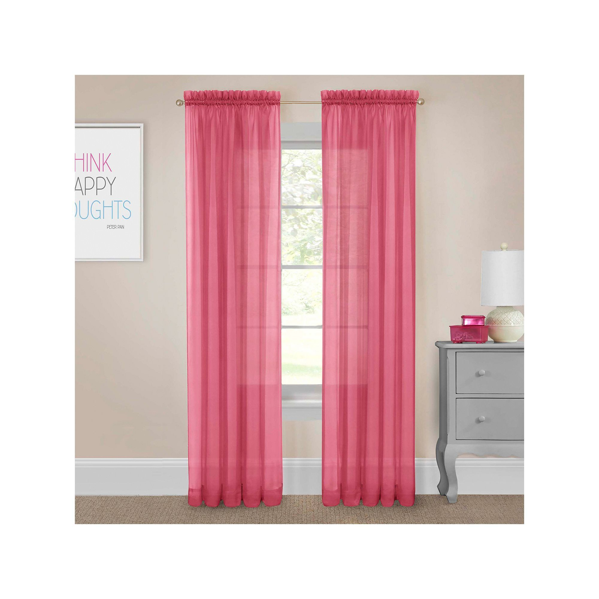 Pairs To Go 2 Pack Victoria Voile Window Curtains, Pink Within Pairs To Go Victoria Voile Curtain Panel Pairs (View 9 of 20)