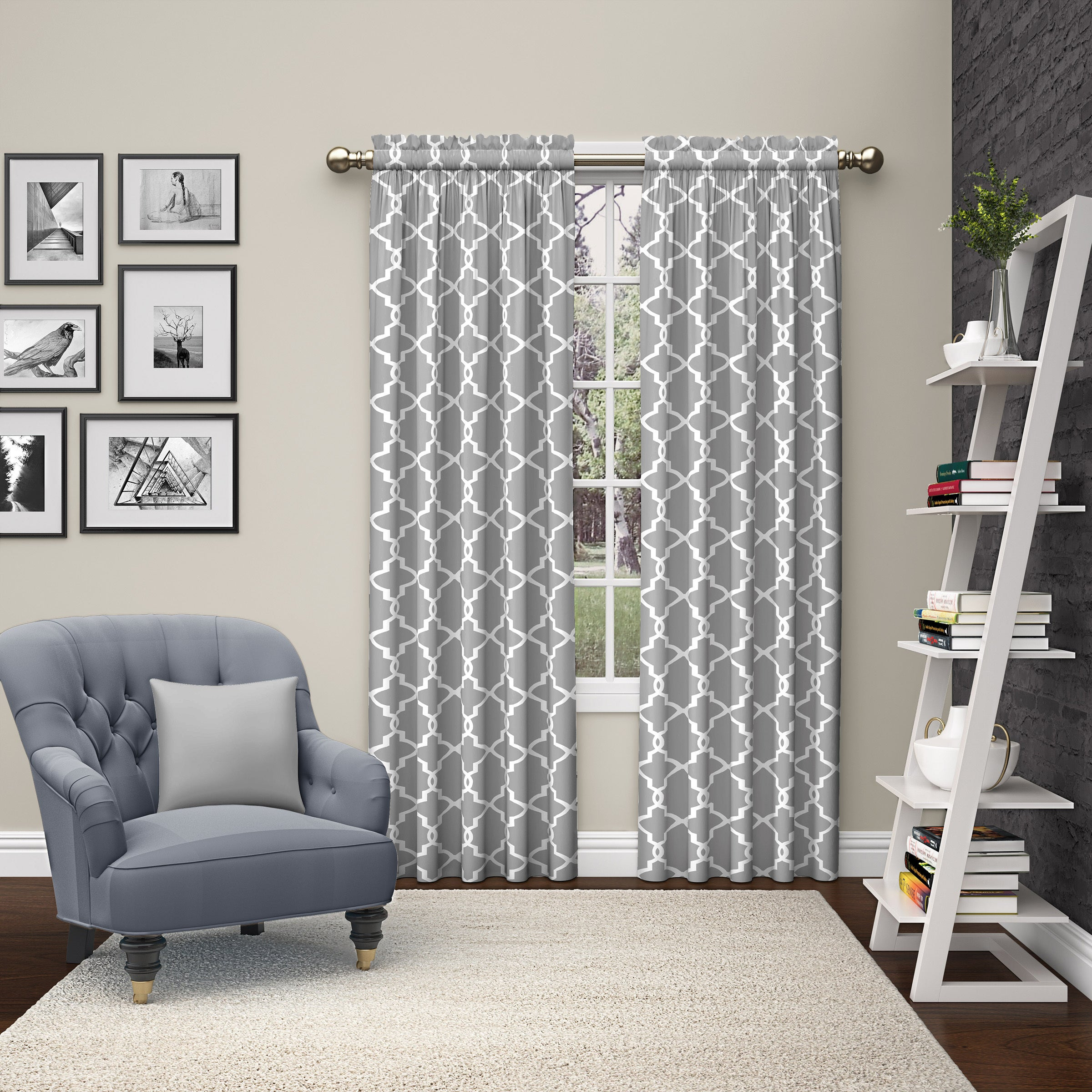 Pairs To Go Vickery Rod Pocket Curtain Panel Pair Throughout Essentials Almaden Fretwork Printed Grommet Top Curtain Panel Pairs (View 16 of 20)