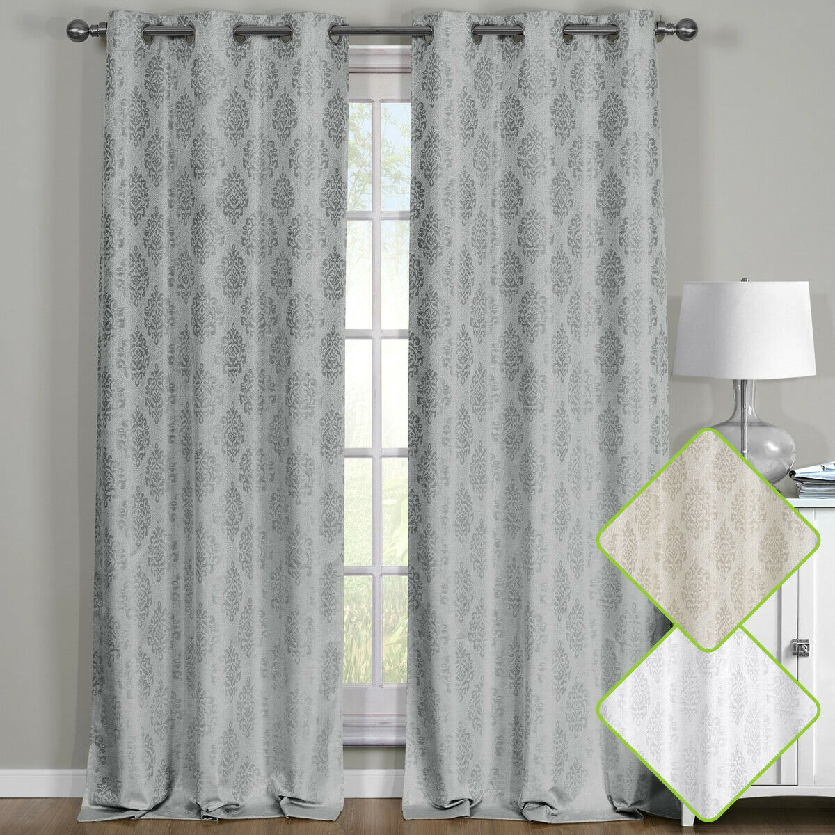 Paisley Thermal Blackout Curtain Panels Grommet Top Window Jacquard Curtain Pair Intended For True Blackout Vintage Textured Faux Silk Curtain Panels (View 23 of 30)