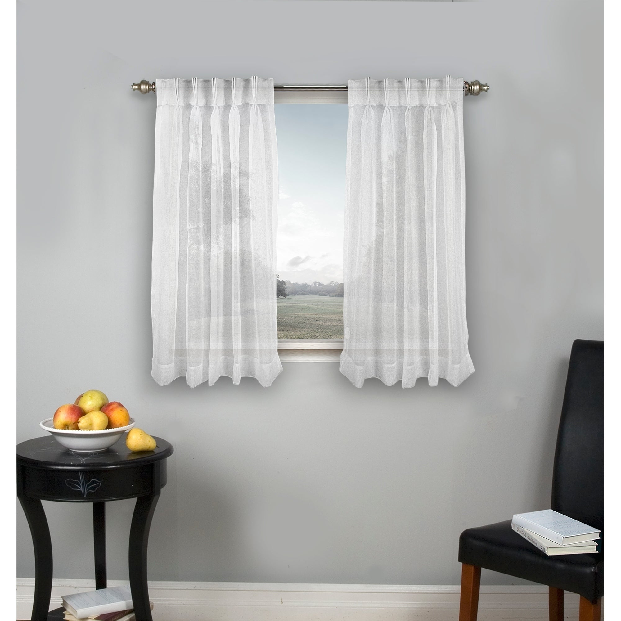 Palm Beach Pinch Pleated Top With Back Tabs Short Curtain Panel Pair With Classic Hotel Quality Water Resistant Fabric Curtains Set With Tiebacks (View 16 of 20)