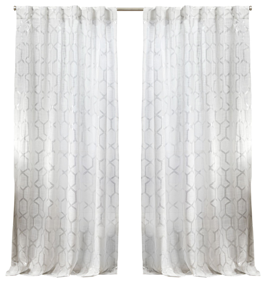 Panza Metallic Print Sheer Hidden Tab Curtain Panel Pair, Winter Silver, 54x96 Within Oakdale Textured Linen Sheer Grommet Top Curtain Panel Pairs (View 14 of 20)