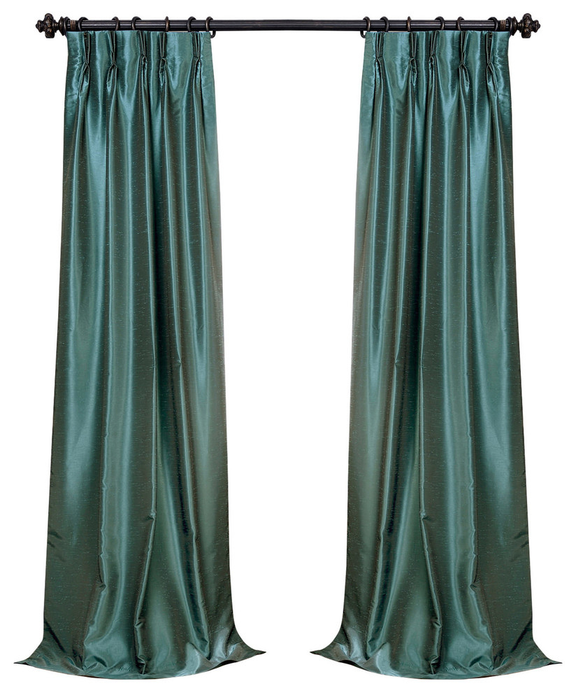 """Peacock Blackout Textured Fauxdupioni Pleated Curtain Single Panel, 25""""x96"""" Intended For Storm Grey Vintage Faux Textured Dupioni Single Silk Curtain Panels (View 29 of 30)"""
