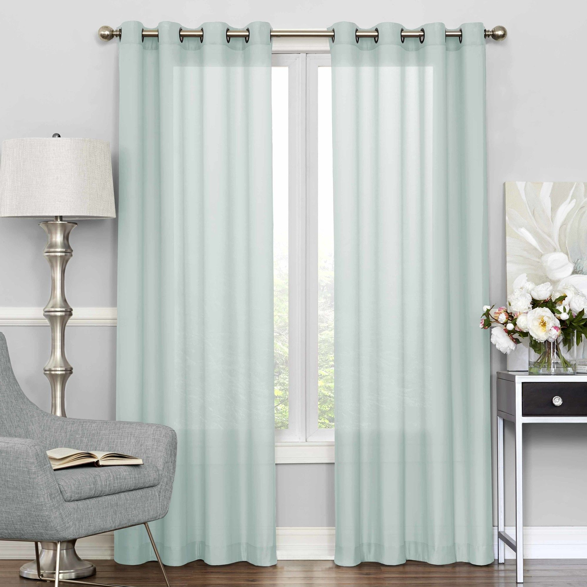 Pembrey Solid Sheer Tab Top Single Curtain Panel | Huis In In Light Filtering Sheer Single Curtain Panels (View 17 of 20)