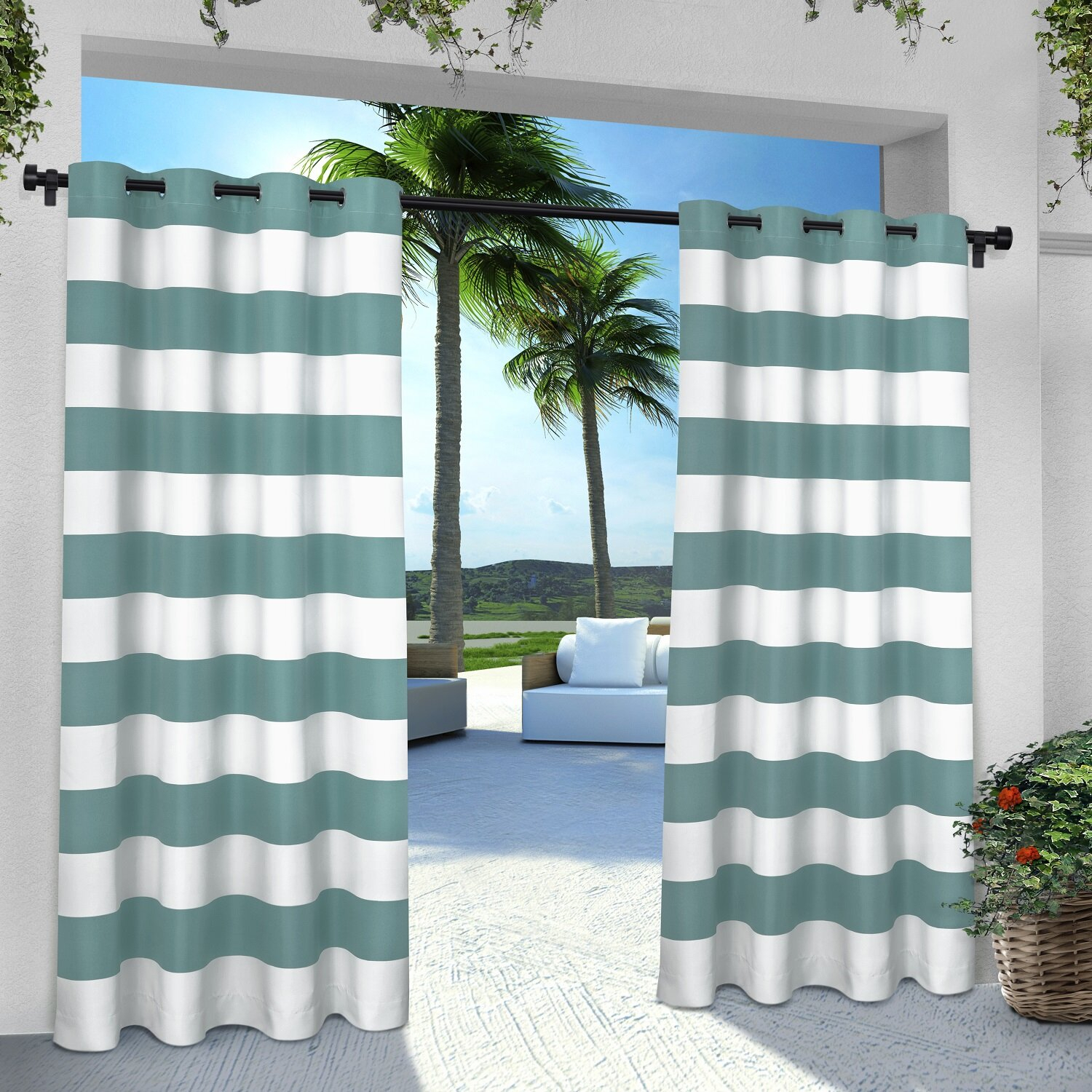 Plant City Striped Room Darkening Grommet Curtain Panels Intended For Ocean Striped Window Curtain Panel Pairs With Grommet Top (View 9 of 20)