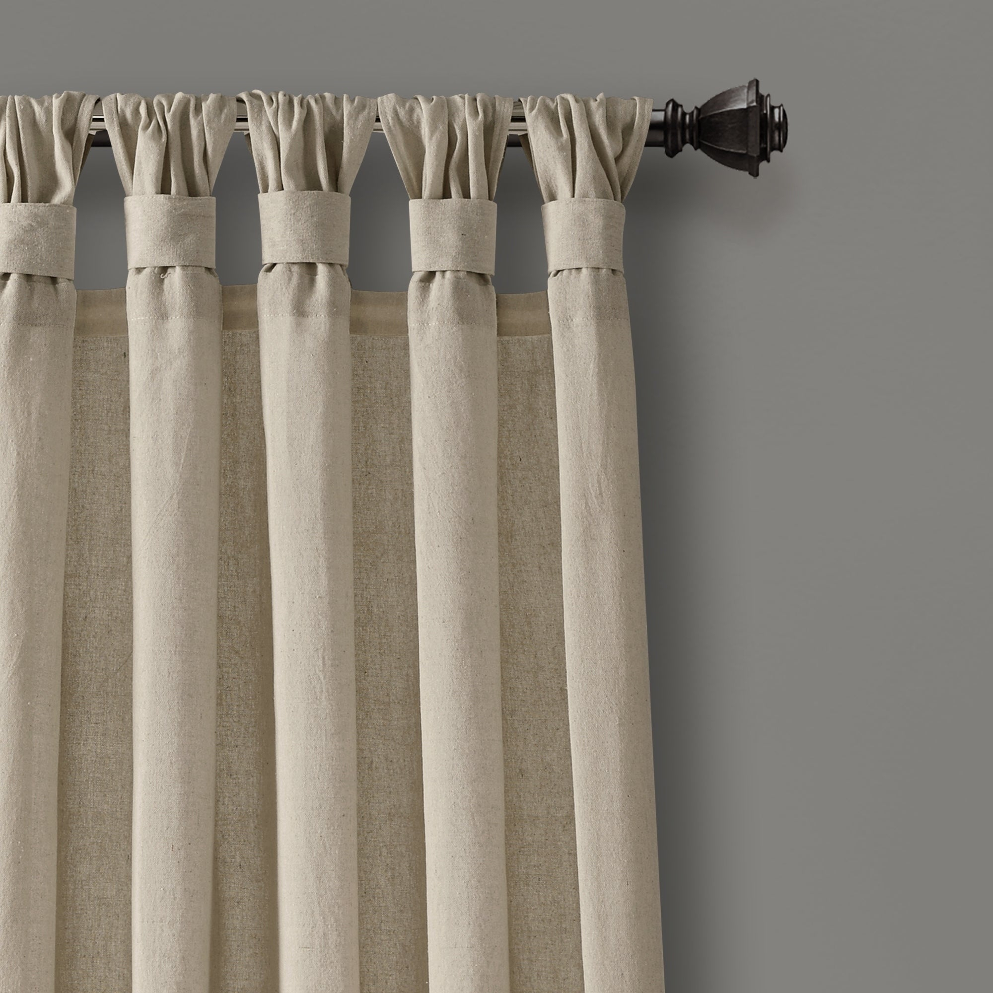 Porch & Den Alsea Burlap Knotted Tab Top Window Curtain Panel Pair For Knotted Tab Top Window Curtain Panel Pairs (View 2 of 20)