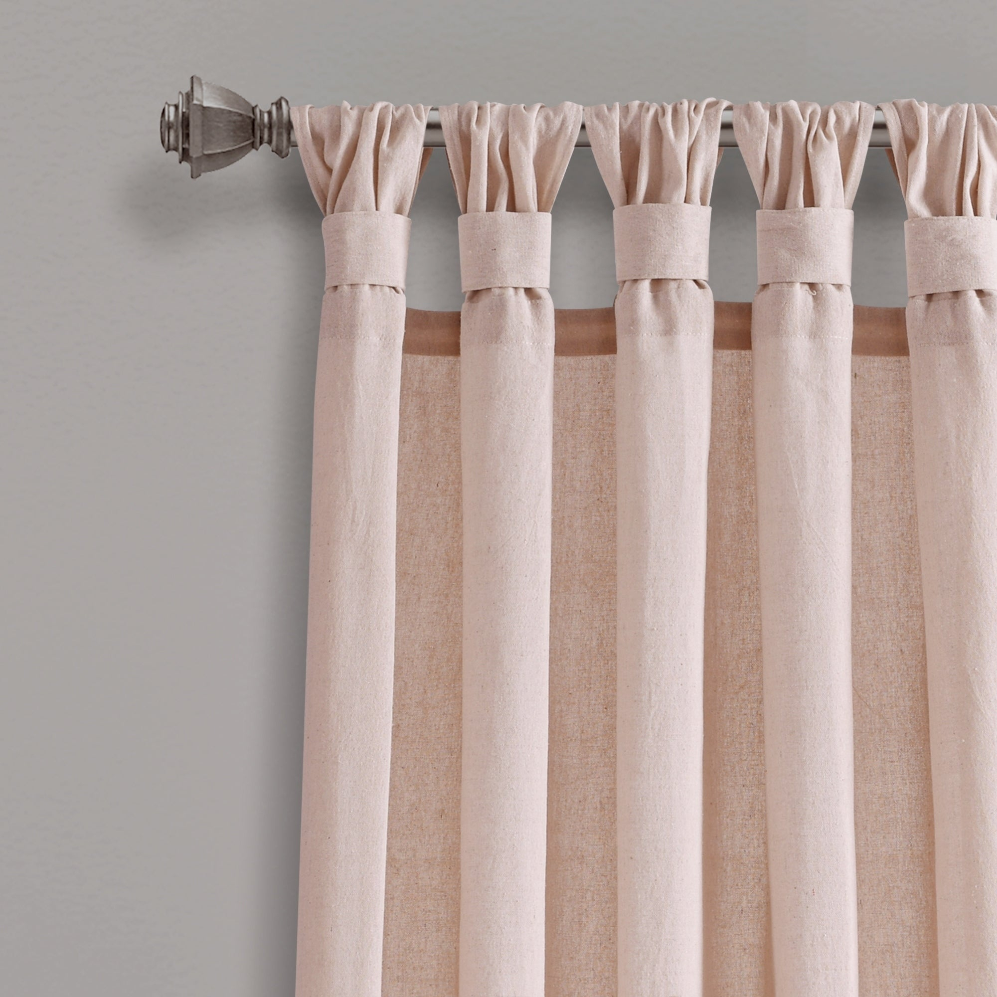 Porch & Den Alsea Burlap Knotted Tab Top Window Curtain Panel Pair With Regard To Knotted Tab Top Window Curtain Panel Pairs (View 3 of 20)