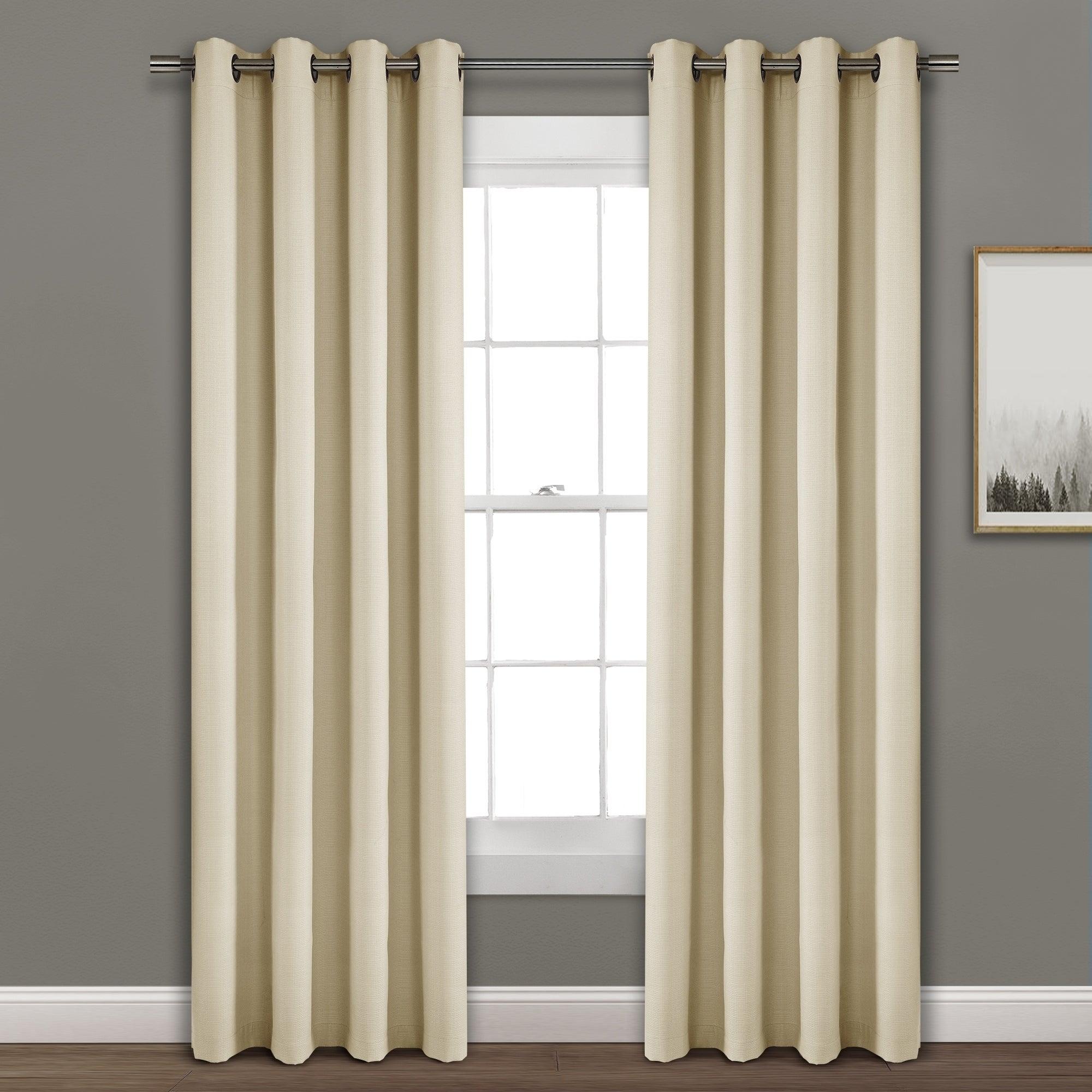Porch & Den Limpus Faux Linen Grommet Top Blackout Curtain Panel Pertaining To Hayden Grommet Blackout Single Curtain Panels (View 4 of 20)