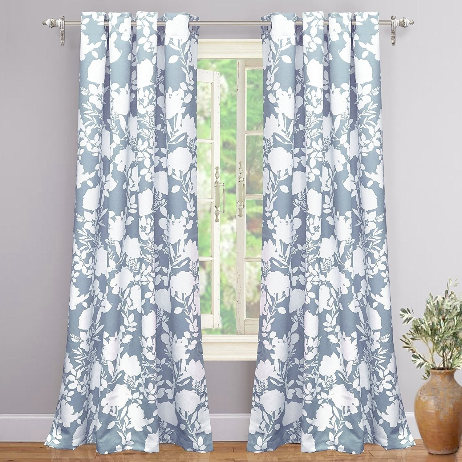 Porch & Den Nolana Floral Room Darkening Grommet Window Curtain Panel Pair intended for Floral Pattern Room Darkening Window Curtain Panel Pairs (Image 19 of 20)