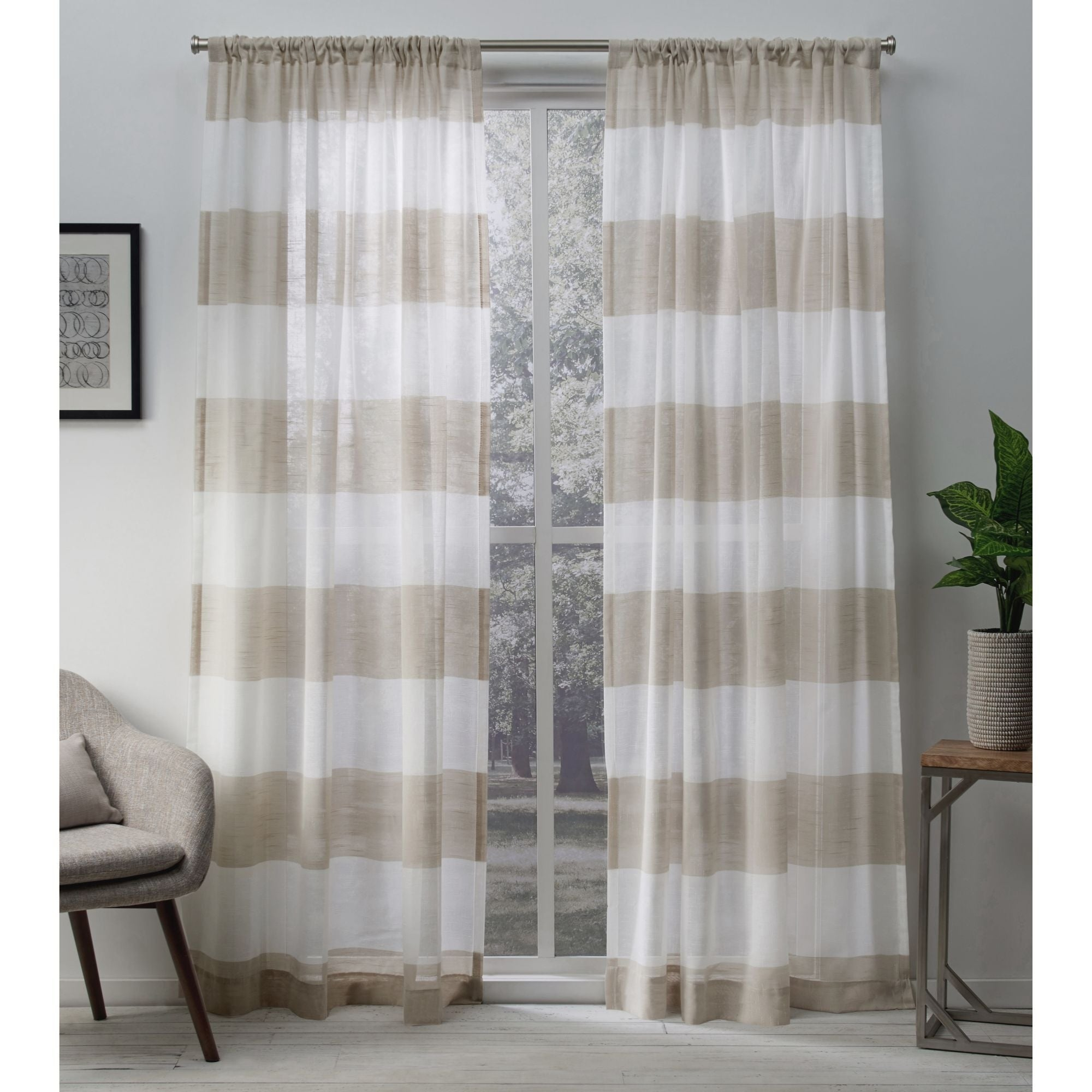 Porch & Den Ocean Sheer Linen Curtain Panel Pair With Rod Pocket In Curtain Panel Pairs (View 7 of 20)