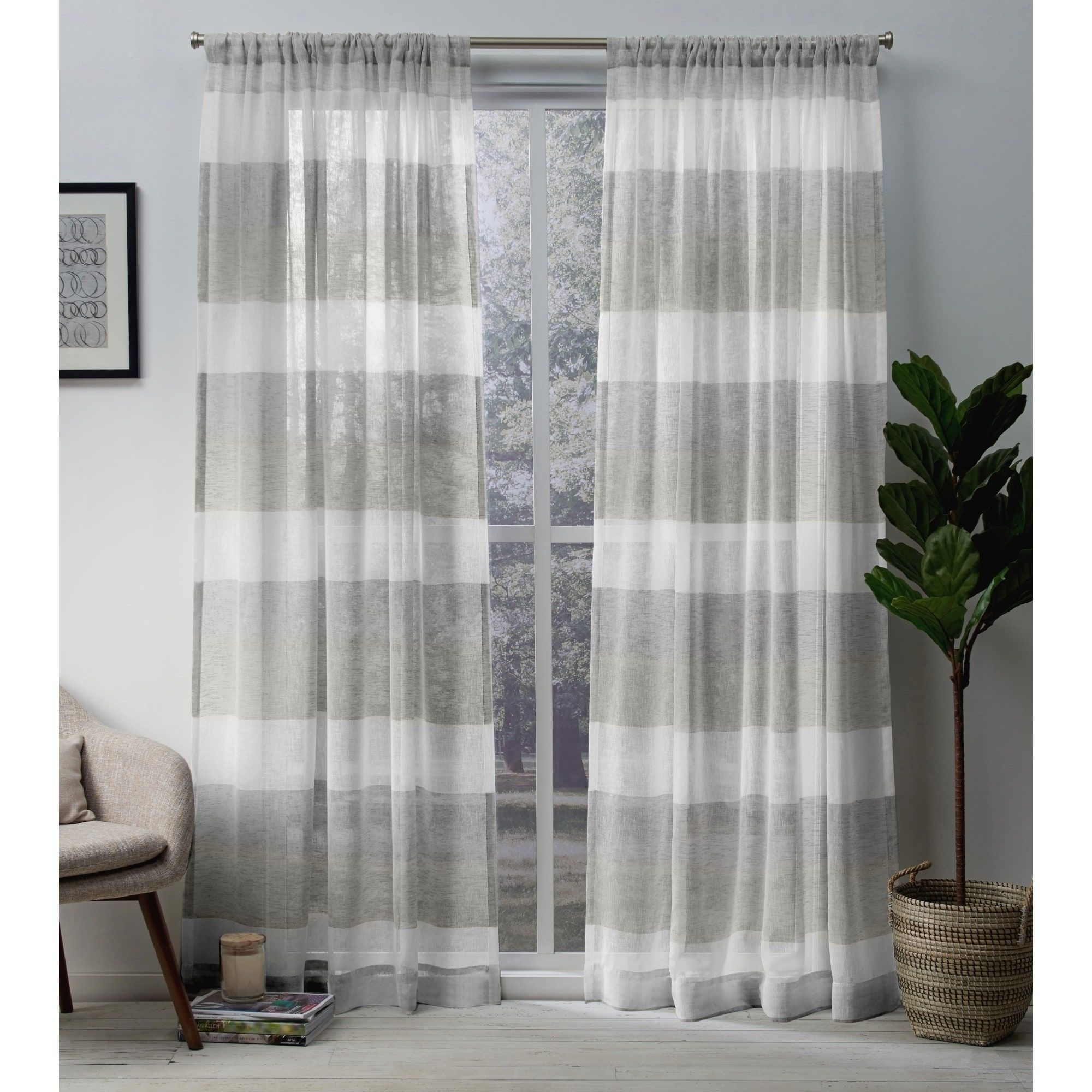 Porch & Den Ocean Stripe Sheer Curtain Panel Pair With Rod Intended For Ocean Striped Window Curtain Panel Pairs With Grommet Top (View 10 of 20)