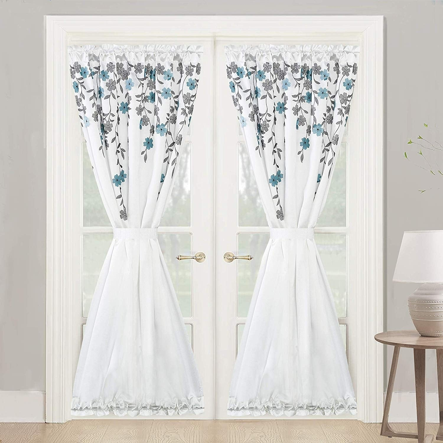 Porch & Den Oneida Floral Faux Silk Room Darkening Door Curtain Panel With Ofloral Embroidered Faux Silk Window Curtain Panels (View 16 of 20)
