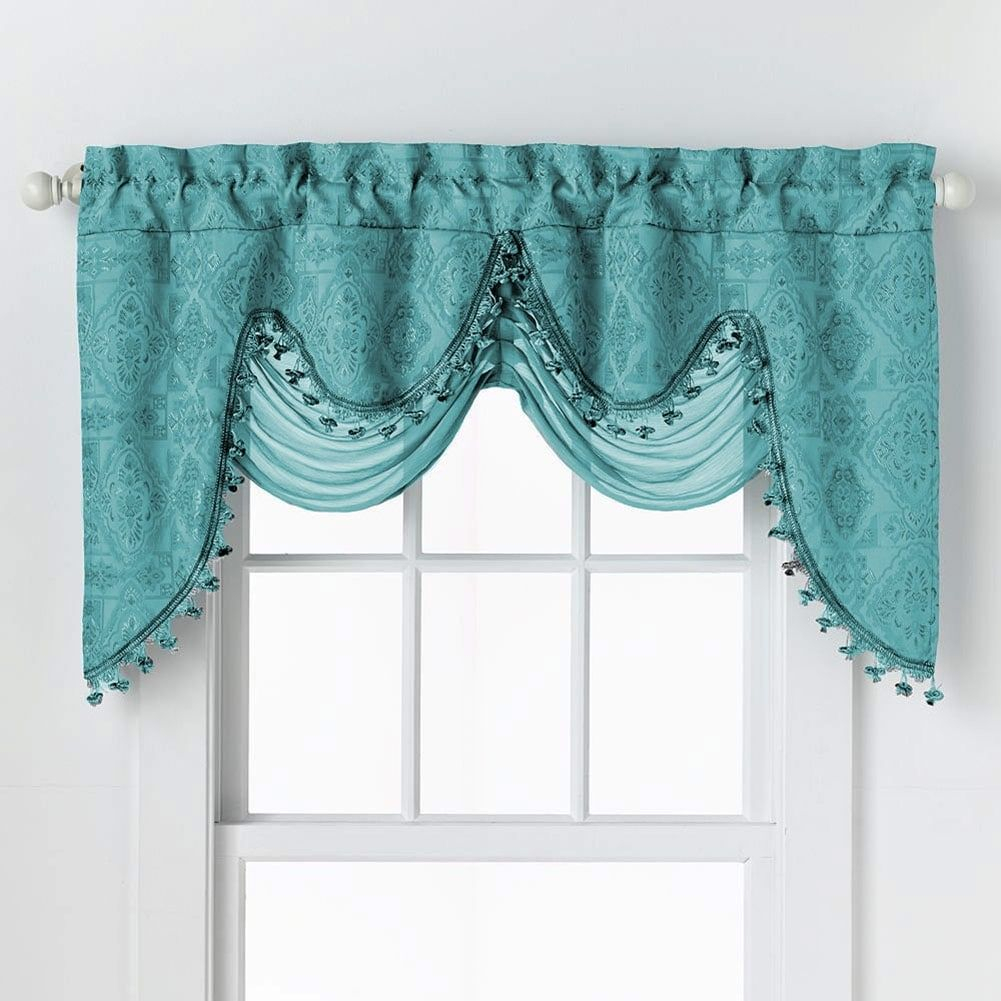 Portofino Jacquard Rod Pocket Valance With Decorative Fringe In Luxury Collection Summit Sheer Curtain Panel Pairs (View 14 of 20)