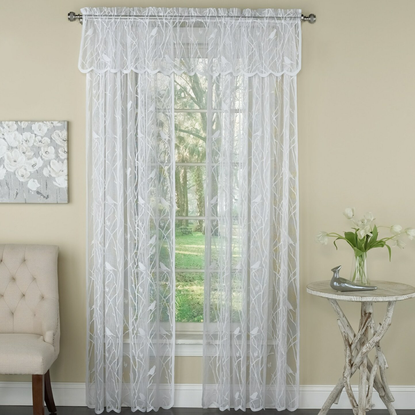 Prevatte Bird Song Lace Tier Pair Nature/floral Semi Sheer Rod Pocket Single Window Curtain With Regard To Luxurious Old World Style Lace Window Curtain Panels (View 14 of 20)