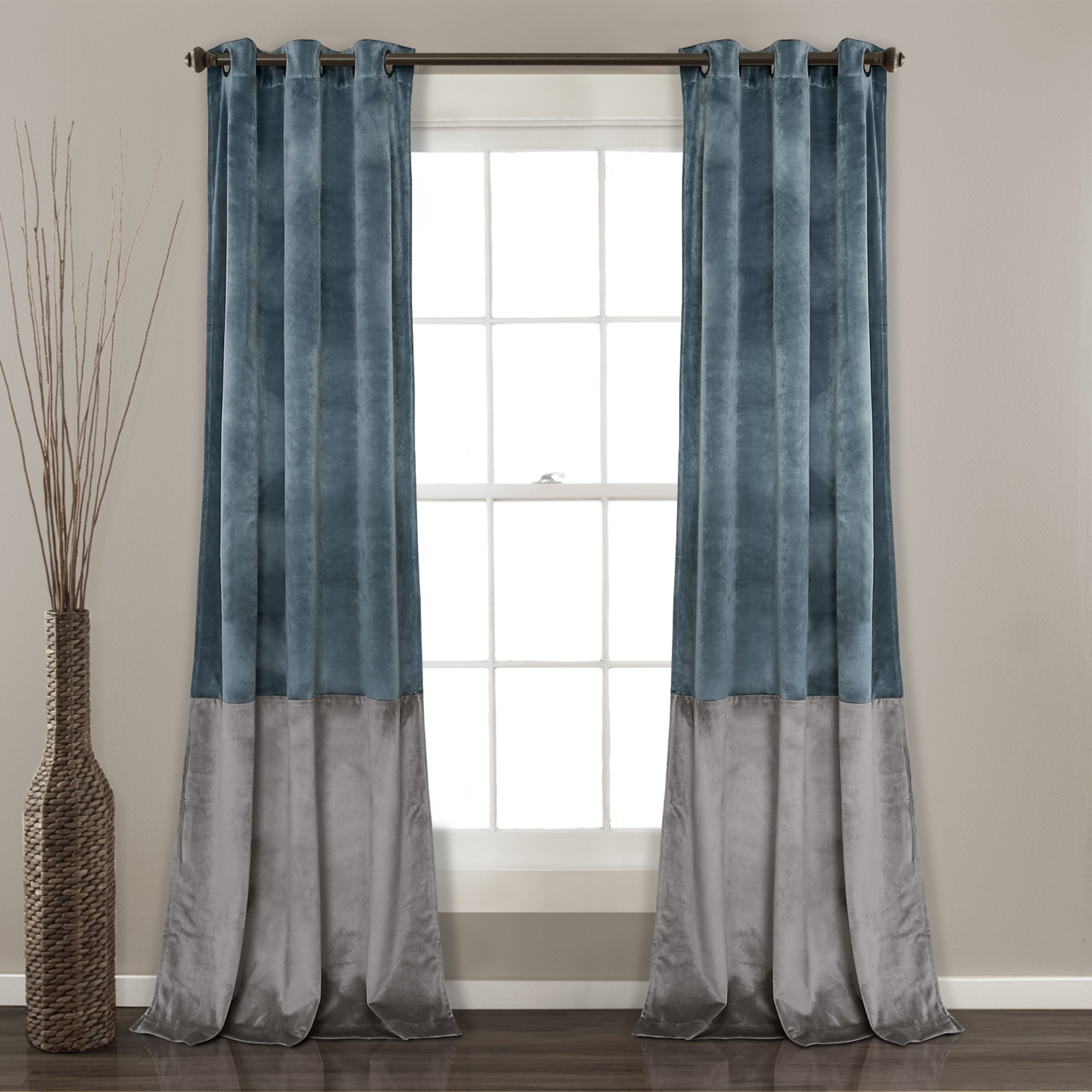 Prima Velvet Color Block Room Darkening Window Curtain Panel Intended For Velvet Solid Room Darkening Window Curtain Panel Sets (View 19 of 30)