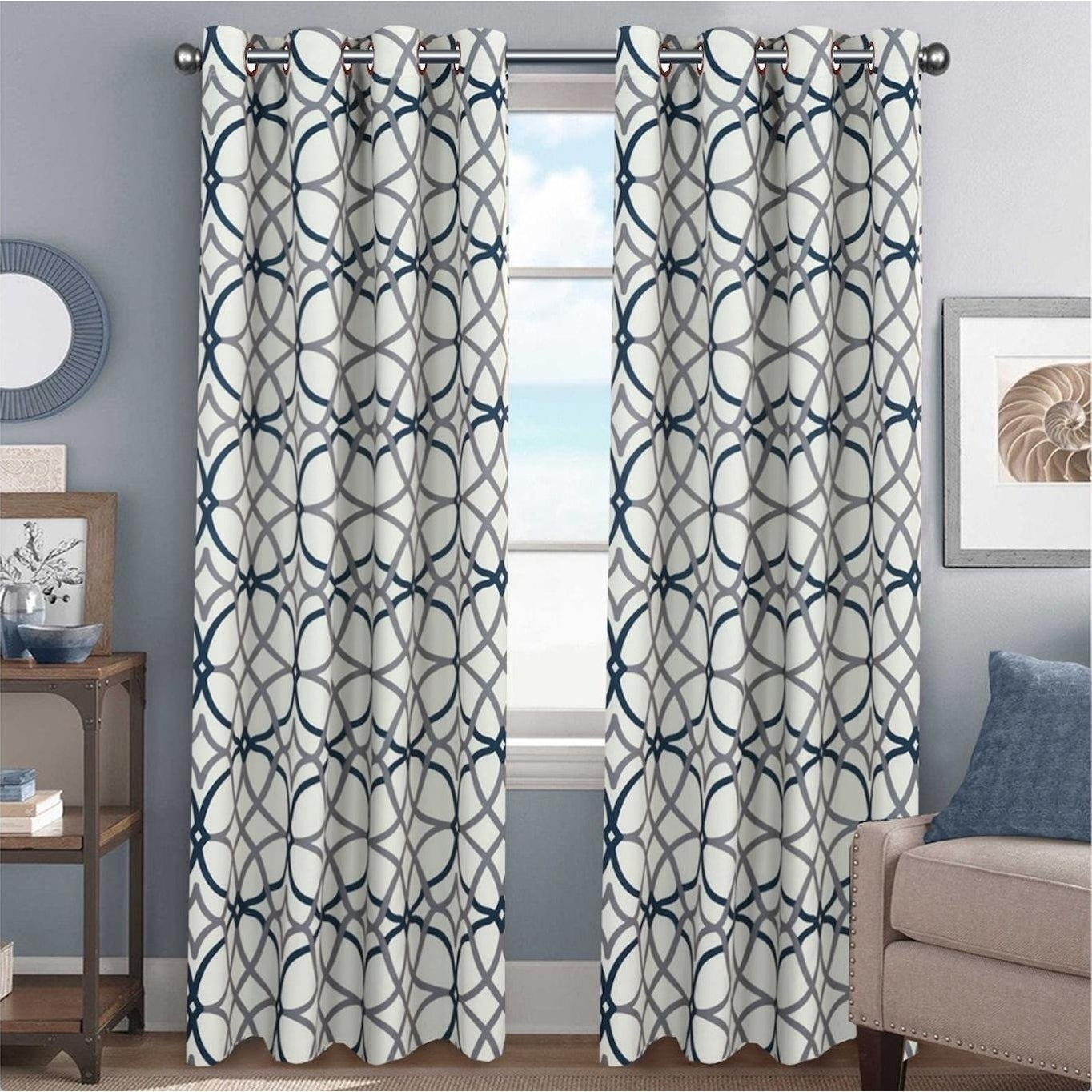 Featured Photo of Primebeau Geometric Pattern Blackout Curtain Pairs