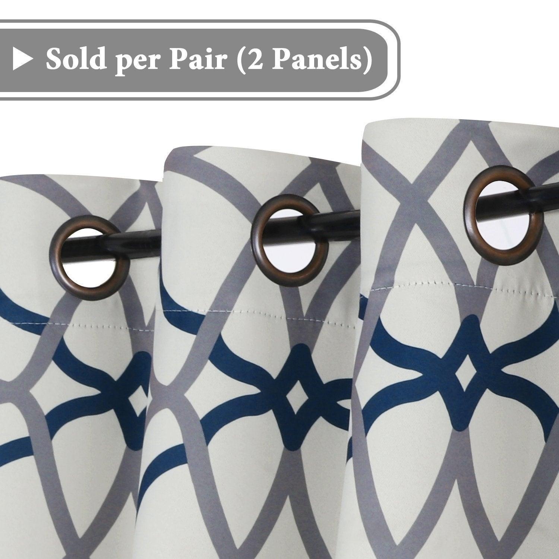Primebeau Geometric Pattern Blackout Curtain Pair 2 Pack Pertaining To Primebeau Geometric Pattern Blackout Curtain Pairs (View 12 of 20)
