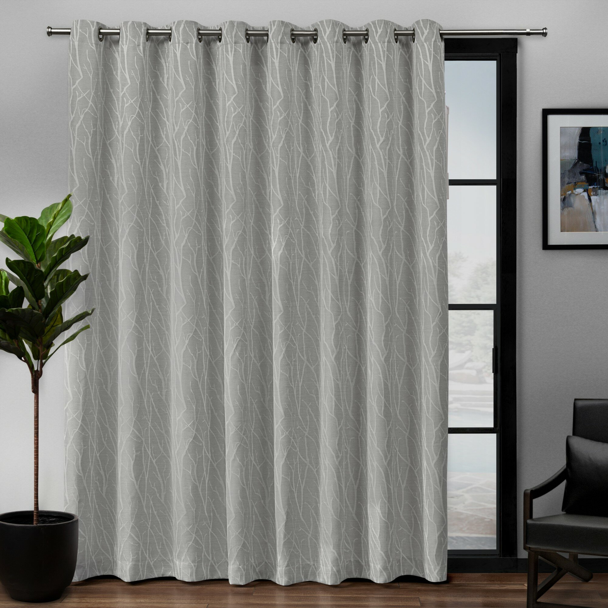 Prower Patio Woven Blackout Thermal Grommet Single Curtain Panel With Regard To Grommet Blackout Patio Door Window Curtain Panels (View 10 of 20)