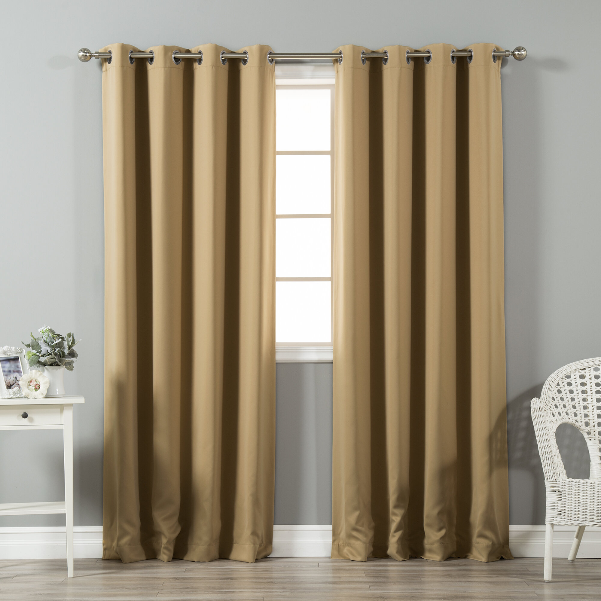 Prudence Solid Blackout Thermal Grommet Curtain Panel Throughout Solid Insulated Thermal Blackout Curtain Panel Pairs (View 14 of 30)