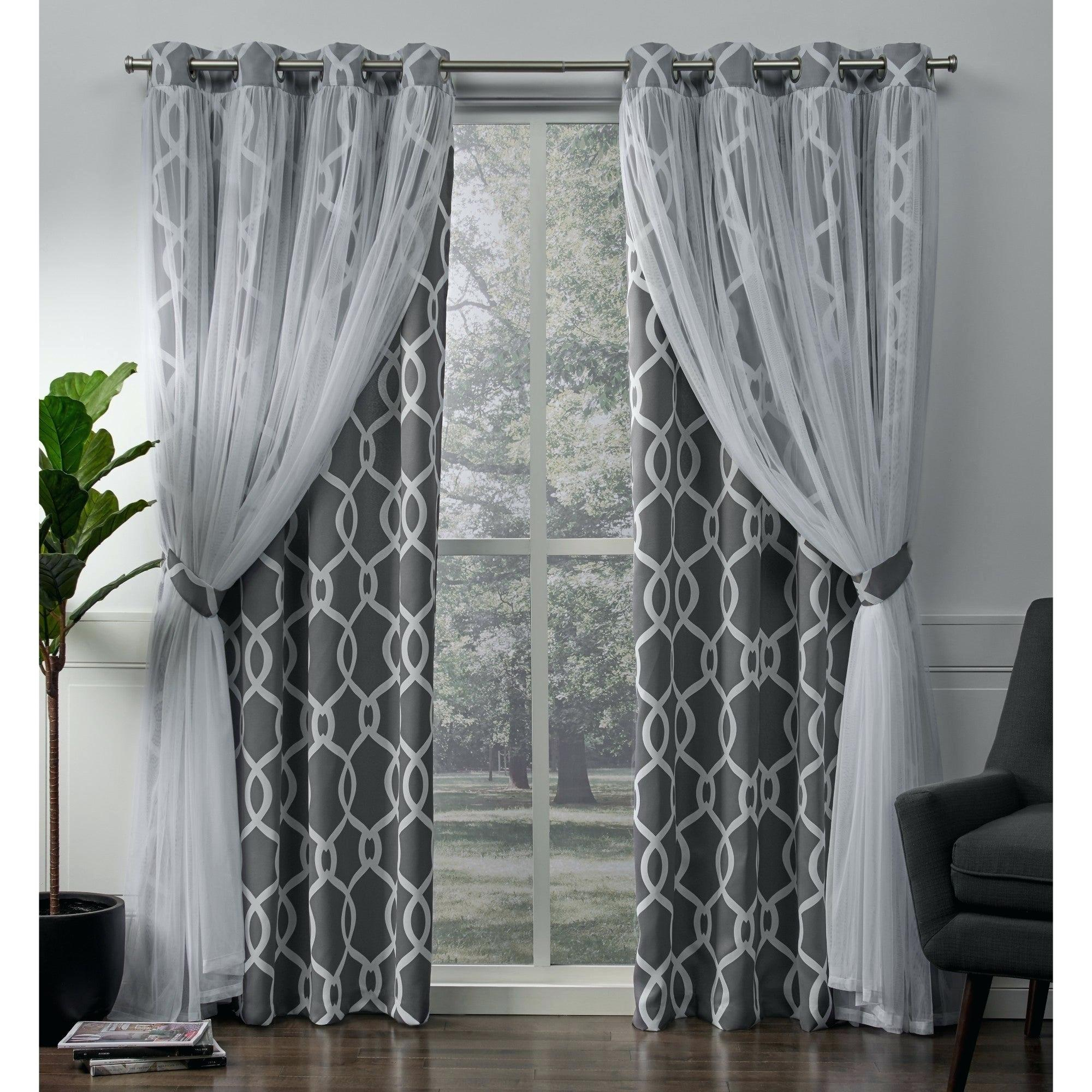 Purple And Grey Curtains Home Thermal Woven Blackout Grommet Within Solid Insulated Thermal Blackout Curtain Panel Pairs (View 22 of 30)