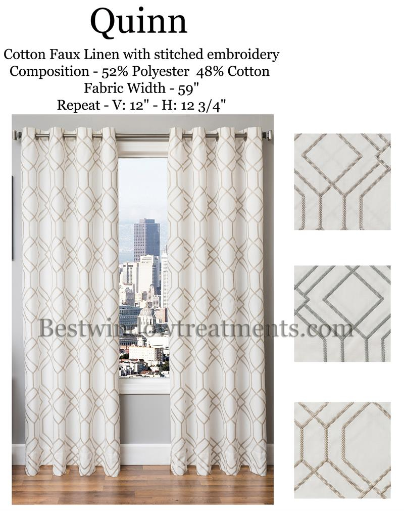 Quinn Linen Curtains : Modern Or Vintage Art Deco Style | Bestwindowtreatments With Regard To Faux Linen Extra Wide Blackout Curtains (View 14 of 20)