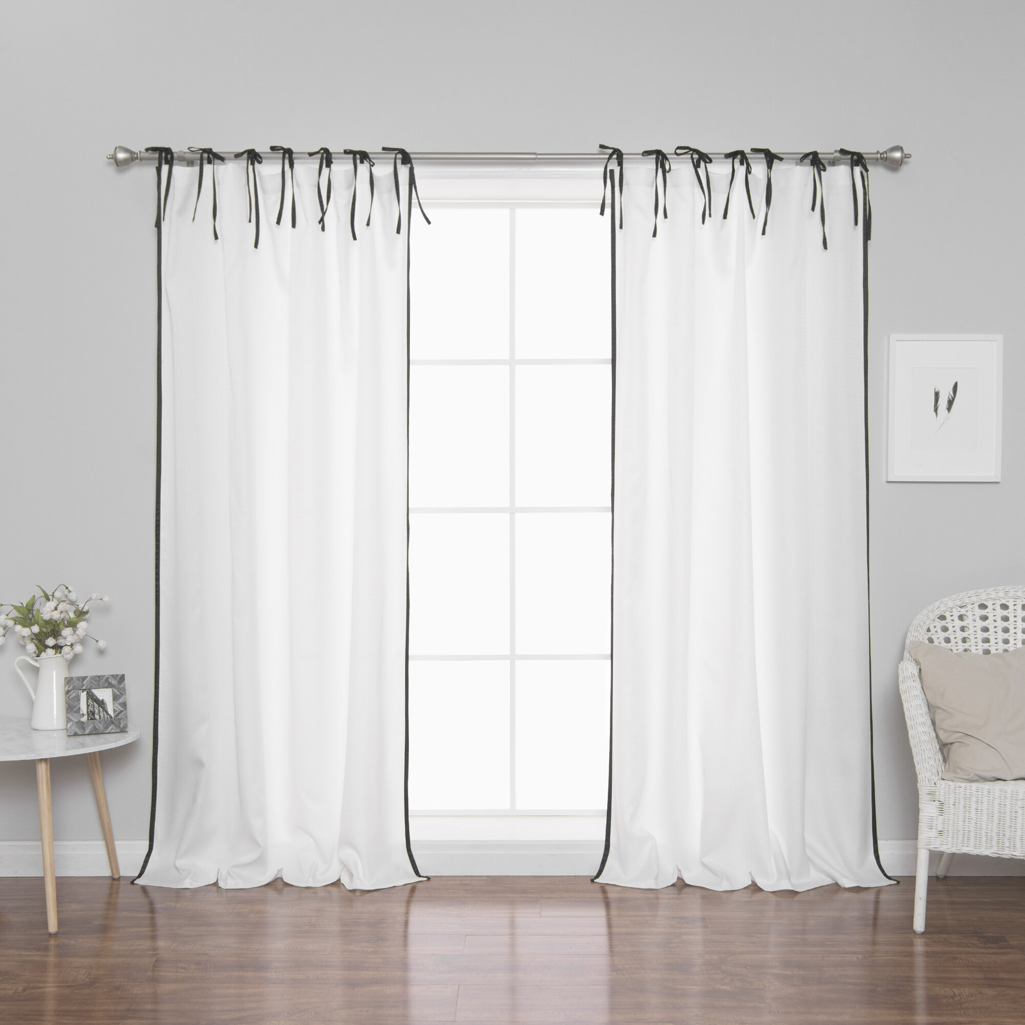 Quinnes Border Tie Top Curtain Panels With Tulle Sheer With Attached Valance And Blackout 4 Piece Curtain Panel Pairs (View 19 of 30)