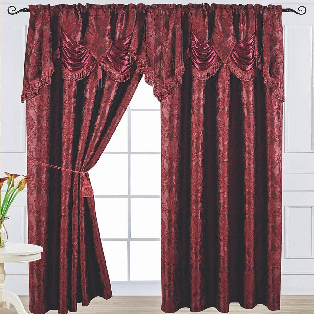 Ready Made 84Inch Length Burgundy Jacquard Curtain And Waterfall Valance With Regard To Elegant Comfort Luxury Penelopie Jacquard Window Curtain Panel Pairs (Photo 18 of 20)